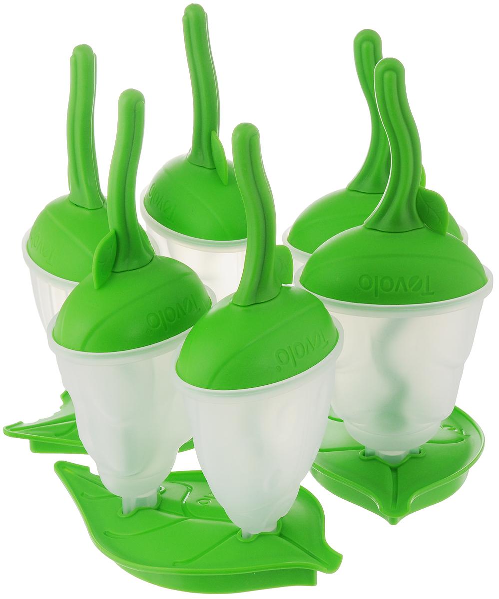 Набор форм для мороженного Tovolo, цвет: зеленый, прозрачный, 6 шт80-9666Удивите себя и детишек любимым лакомством с помощью набора форм для мороженного Tovolo. Забудьте о проблемах с подтеками и каплями, ведь эти стаканчики защитят от них. Залейте в прозрачную форму любимое мороженое, йогурт, или другой наполнитель, наверните стаканчик сверху, закрепите в подставке и отправляйте в морозилку. База помогает защитить от протечек и разливов в морозилке. Набор включает 6 формочек для мороженого и 3 подставки.