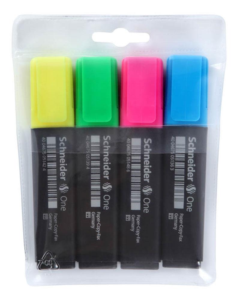Набор текстмаркеров ONE, 1+5 мм, 4 шт., (желтый, голубой, розовый, зеленый).S15104