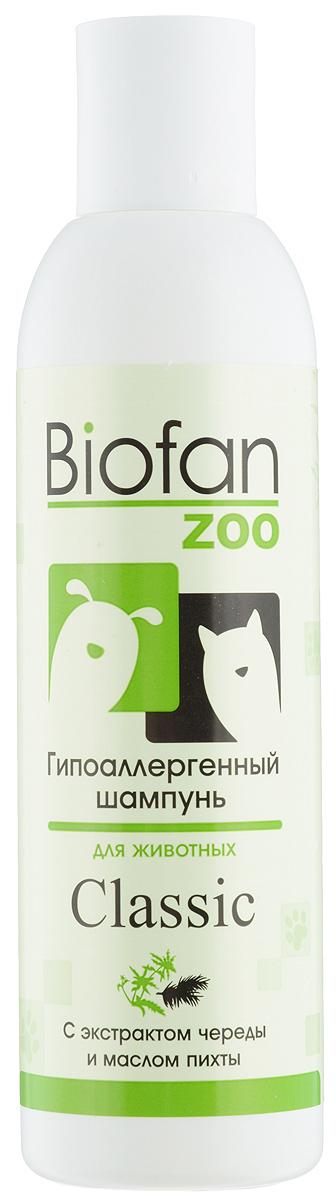 Шампунь для животных Biofan Zoo Classic, гипоаллергенный, 200 мл30бфШампунь Biofan Zoo Classic рекомендован для собак и кошек всех пород и типов шерсти. Не содержит красителей и синтетических отдушек. Масло пихты обладает увлажняющим действием, питает кожу животного, придает приятный запах. Экстракт череды снимает зуд и неприятные ощущения в местах укусов насекомых, смягчает и увлажняет шерсть и кожу животного, обладает антисептическим, бактерицидным и увлажняющим действием. Способ применения: нанести необходимое количество шампуня на смоченную поверхность шерсти животного, втирать до образования пены, затем тщательно промыть водой. При необходимости повторить процедуру. Товар сертифицирован.