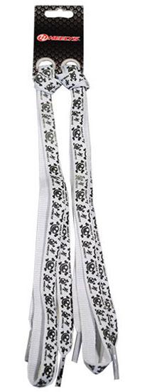 Шнурки White Glow Scull, цвет: белый, черный, 100 см