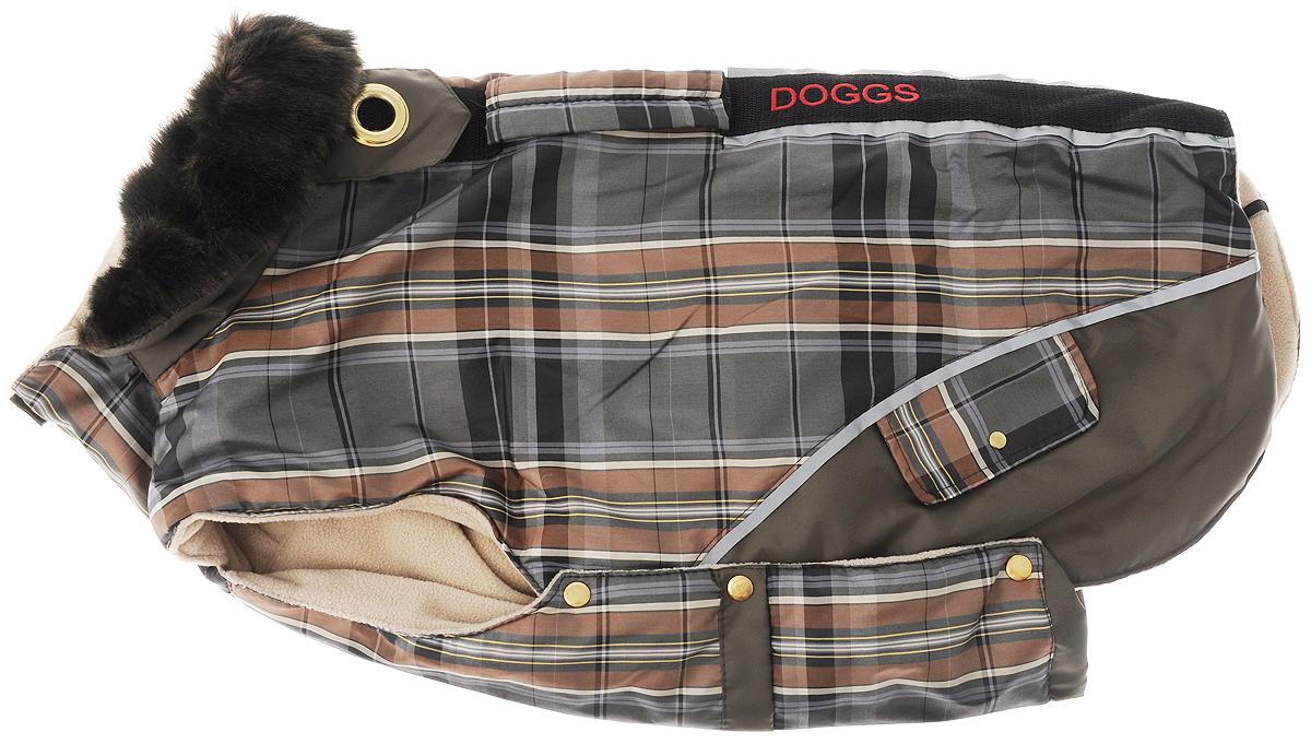 Попона для собак Dogmoda Doggs, для девочки, цвет: серый, зеленый. Размер LDM-140549_серый, зеленыйТеплая попона для собак Dogmoda Doggs отлично подойдет для прогулок в холодное время года. Попона изготовлена из водоотталкивающего полиэстера, защищающего от ветра и осадков, с утеплителем из синтепона, который сохранит тепло даже в сильные морозы, а на подкладке используется флис, который отлично сохраняет тепло и обеспечивает воздухообмен. Попона оснащена прорезями для ног и застегивается на кнопки, а высокий ворот с расширителем имеет застежку- молнию и кнопку, благодаря чему ее легко надевать и снимать. Ворот украшен искусственным мехом. На животе попона затягивается на шнурок-кулиску с зажимом. Спинка декорирована эмблемой с надписью Dogmoda, вышитой надписью Doggs и оснащена светоотражающими элементами и ручкой. Модель снабжена непромокаемым карманом для размещения записки с информацией о вашем питомце, на случай если он потеряется. Благодаря такой попоне питомцу будет тепло и комфортно в любое время года. ...