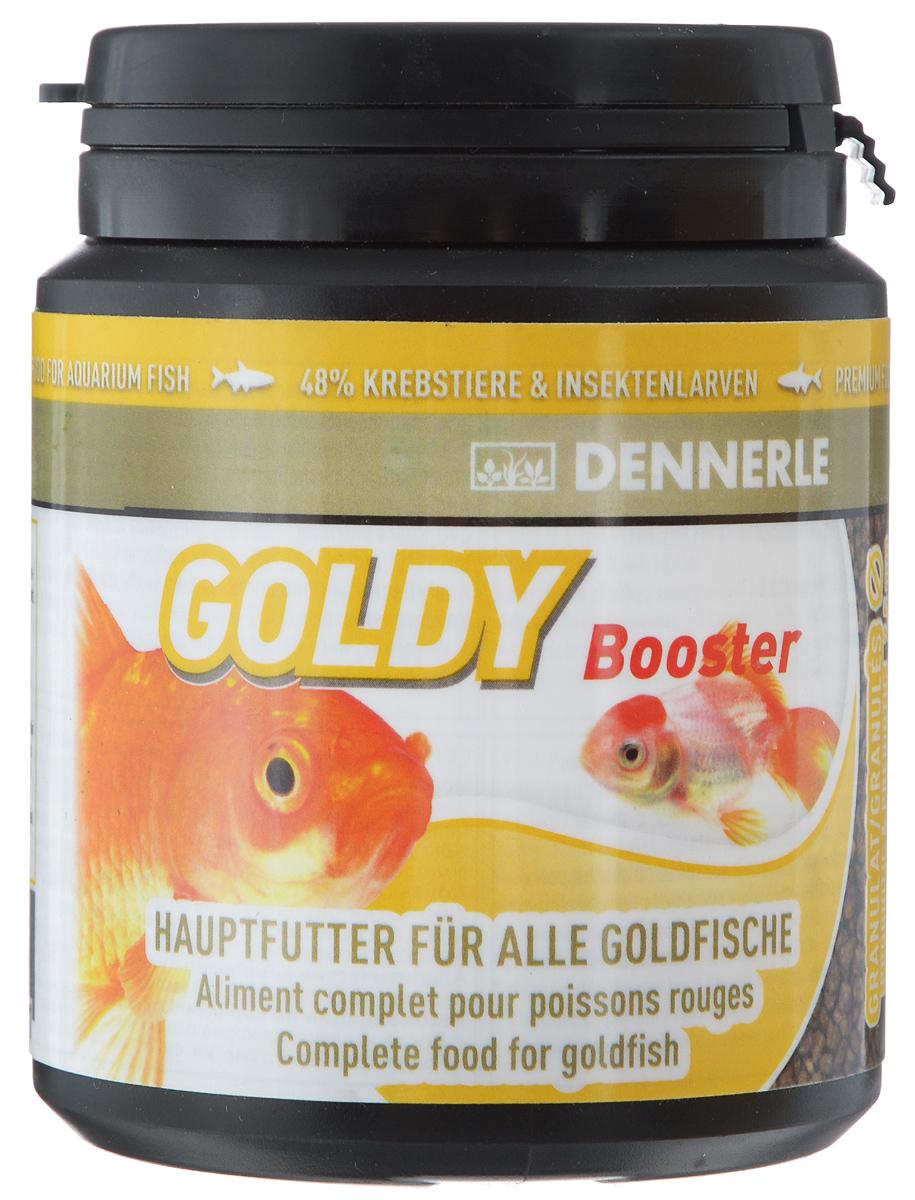 Корм Dennerle Goldy Booster, для золотых рыбок, 96 гDEN7515Dennerle Goldy Booster - основной корм в форме гранул для золотых рыбок. Корм для золотых рыбок и их разновидностей (вуалехвосты, шубункины, кометы и львиноголовки). Содержит 53% животных компонентов, таких как: - Гаммарус, зеленые мидии, дафнии, в также 41% растительных компонентов, которыми питаются в естественной среде обитания карповые, к которым относятся золотые рыбки; - Астаксантин усиливает яркость окраски рыб; - Пробиотики, лактобактерии и бета-глюкан укрепляют иммунитет. Состав: арктический криль (27%), пшеничный протеин, моринга масличная, речной бокоплав (4%), кузнечик (4%), личинка мухи (3%), шпинат, жир морских животных с омега-3 ПНЖК, известковые красные водоросли, дрожжевой экстракт, капуста белокочанная, артемия (2%), науплия артемии (2%), каракатица, спирулина платенсис, мелиса, чеснок, мокрица, красная личинка комара (1%), водоросли наннохлоропсис, инулин цикория, травяной экстракт, водоросли хлорелла, фенхель, анис, цветочная пыльца,...