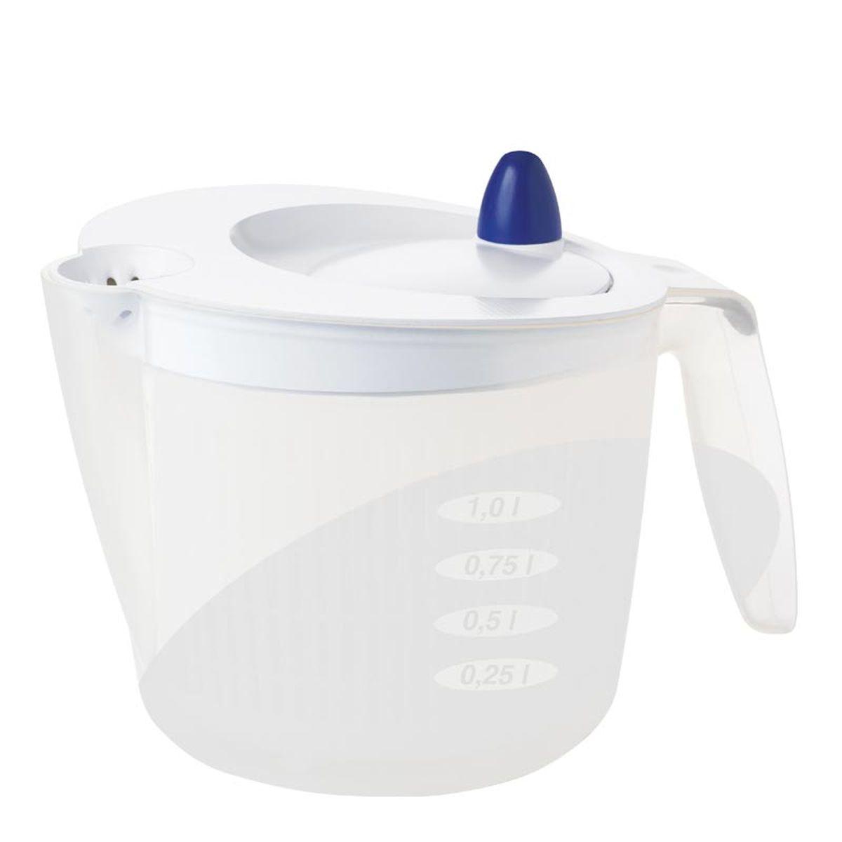 Сушилка для салата Emsa Fit&Fresh, цвет: белый, 2 л502992Сушилка для салата Emsa Fit&Fresh совмещает в себе сушилку, дуршлаг и салатник. Экономит место благодаря небольшому объему. С практичным носиком и мерной шкалой. Можно мыть в посудомоечной машине. Объем чаши: 2 л.