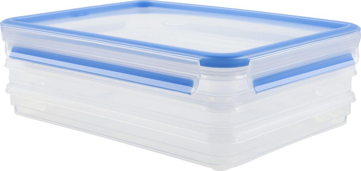 Набор контейнеров для нарезки Emsa Clip&Close, 1 л, 3 шт508556Набор контейнеров Emsa Clip&Close изготовлен из высококачественного антибактериального пищевого пластика, имеющего сертификат BPA-free, который выдерживает температуру от -40°С до +110° С, не впитывает запахи и не изменяет цвет. Это абсолютно гигиеничный продукт, который подходит для хранения даже детского питания. 100% герметичность - идеально не только для хранения, но и для транспортировки пищи. Герметичность достигается за счет специальных силиконовых прослоек, которые позволяют использовать контейнер для хранения не только пищи, но и жидкости. В таком контейнере продукты долгое время сохраняют свою свежесть - до 4-х раз дольше по сравнению с обычными, в том числе и вакуумными контейнерами. 100% гигиеничность - уникальная технология применения медицинского силикона в уплотнителе крышки: никаких полостей - никаких микробов. Изделие снабжено крышкой, плотно закрывающейся на 4 защелки. 100% удобство - прозрачные стенки позволяют просматривать...