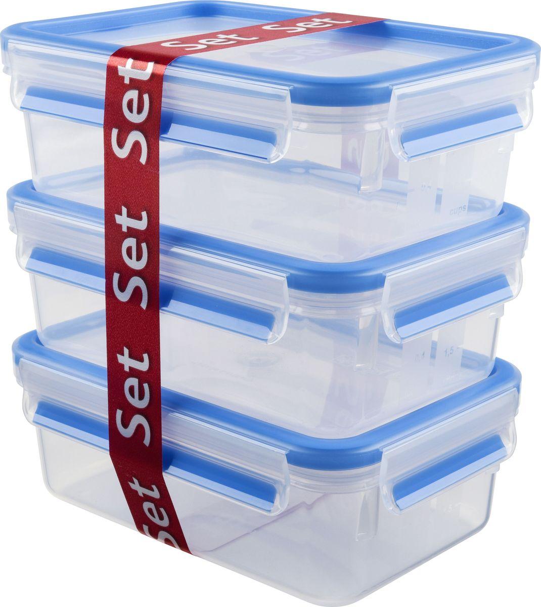 Набор контейнеров Emsa Clip&Close, 1 л, 3 шт508558Набор контейнеров Emsa Clip&Close изготовлен из высококачественного антибактериального пищевого пластика, имеющего сертификат BPA-free, который выдерживает температуру от -40°С до +110° С, не впитывает запахи и не изменяет цвет. Это абсолютно гигиеничный продукт, который подходит для хранения даже детского питания. 100% герметичность - идеально не только для хранения, но и для транспортировки пищи. Герметичность достигается за счет специальных силиконовых прослоек, которые позволяют использовать контейнер для хранения не только пищи, но и жидкости. В таком контейнере продукты долгое время сохраняют свою свежесть - до 4-х раз дольше по сравнению с обычными, в том числе и вакуумными контейнерами. 100% гигиеничность - уникальная технология применения медицинского силикона в уплотнителе крышки: никаких полостей - никаких микробов. Изделие снабжено крышкой, плотно закрывающейся на 4 защелки. 100% удобство - прозрачные стенки позволяют просматривать...