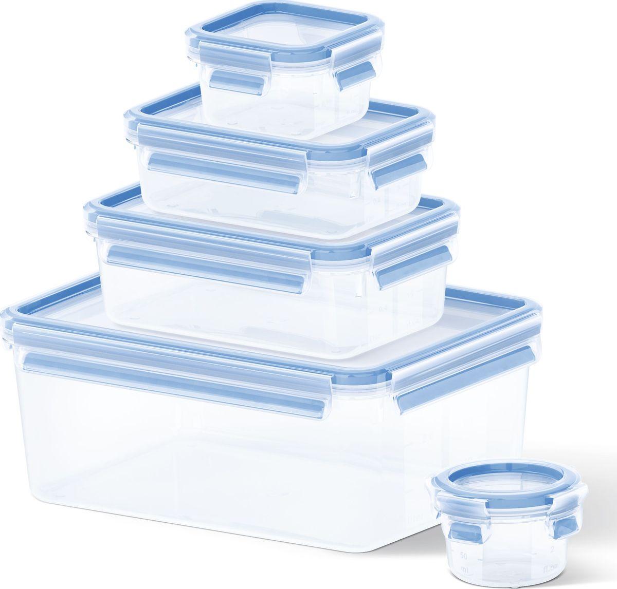 Набор контейнеров Emsa Clip&Close, 5 шт508568Набор контейнеров Emsa Clip&Close изготовлен из высококачественного антибактериального пищевого пластика, имеющего сертификат BPA-free, который выдерживает температуру от -40°С до +110° С, не впитывает запахи и не изменяет цвет. Это абсолютно гигиеничный продукт, который подходит для хранения даже детского питания. 100% герметичность - идеально не только для хранения, но и для транспортировки пищи. Герметичность достигается за счет специальных силиконовых прослоек, которые позволяют использовать контейнер для хранения не только пищи, но и жидкости. В таком контейнере продукты долгое время сохраняют свою свежесть - до 4-х раз дольше по сравнению с обычными, в том числе и вакуумными контейнерами. 100% гигиеничность - уникальная технология применения медицинского силикона в уплотнителе крышки: никаких полостей - никаких микробов. Изделие снабжено крышкой, плотно закрывающейся на 4 защелки. 100% удобство - прозрачные стенки позволяют просматривать...