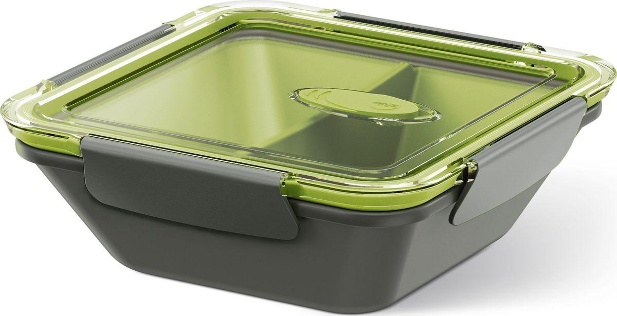 Ланч-бокс Emsa Bento Box, квадратный, цвет: серый, зеленый, 0,9 л513952Ланч-бокс Emsa Bento Box - еда с собой в стильной упаковке. В удобном и практичном ланч-боксе еда дольше останется свежей, вкусной и надежно упакованной. На крышке имеется клапан для щадящего режима разогревания в микроволновке. В контейнере предусмотрены практичные отделениями для разных блюд. Ланч-бокс подходит не только для разогрева пищи, но и для заморозки. Можно мыть в посудомоечной машине. Современный дизайн позволяет брать контейнер с собой на учебу, работу или прогулку.