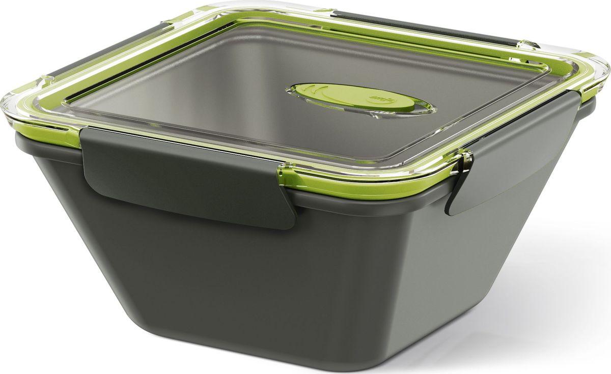 Ланч-бокс Emsa Bento Box, цвет: серый, зеленый, 1,5 л513953Ланч-бокс Emsa Bento Box - еда с собой в стильной упаковке. В удобном и практичном ланч-боксе еда дольше останется свежей, вкусной и надежно упакованной. На крышке имеется клапан для щадящего режима разогревания в микроволновке. Ланч-бокс подходит не только для разогрева пищи, но и для заморозки. Можно мыть в посудомоечной машине. Современный дизайн позволяет брать контейнер с собой на учебу, работу или прогулку.