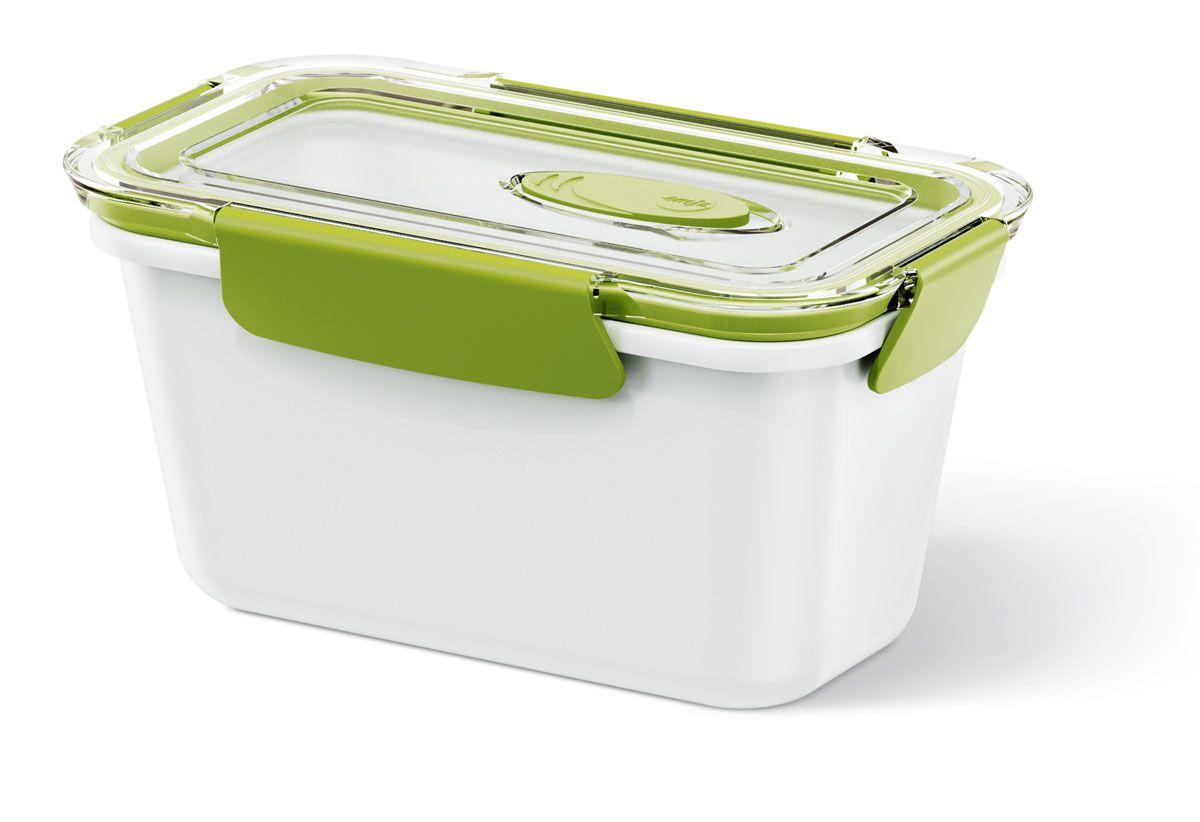 Ланч-бокс Emsa Bento Box, цвет: белый, зеленый, 0,9 л513959Ланч-бокс Emsa Bento Box - еда с собой в стильной упаковке. В удобном и практичном ланч-боксе еда дольше останется свежей, вкусной и надежно упакованной. На крышке имеется клапан для щадящего режима разогревания в микроволновке. Ланч-бокс подходит не только для разогрева пищи, но и для заморозки. Можно мыть в посудомоечной машине. Современный дизайн позволяет брать контейнер с собой на учебу, работу или прогулку.