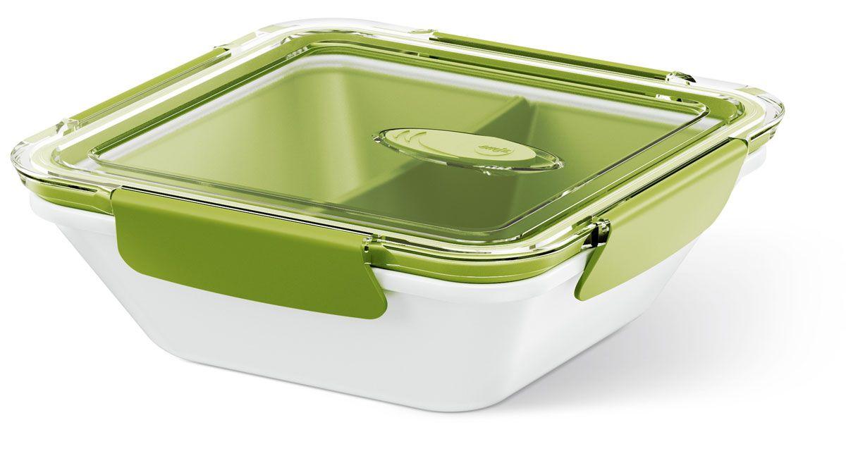 Ланч-бокс Emsa Bento Box, квадратный, цвет: белый, зеленый, 0,9 л513960Ланч-бокс Emsa Bento Box - еда с собой в стильной упаковке. В удобном и практичном ланч-боксе еда дольше останется свежей, вкусной и надежно упакованной. На крышке имеется клапан для щадящего режима разогревания в микроволновке. В контейнере предусмотрены практичные отделениями для разных блюд. Ланч-бокс подходит не только для разогрева пищи, но и для заморозки. Можно мыть в посудомоечной машине. Современный дизайн позволяет брать контейнер с собой на учебу, работу или прогулку.