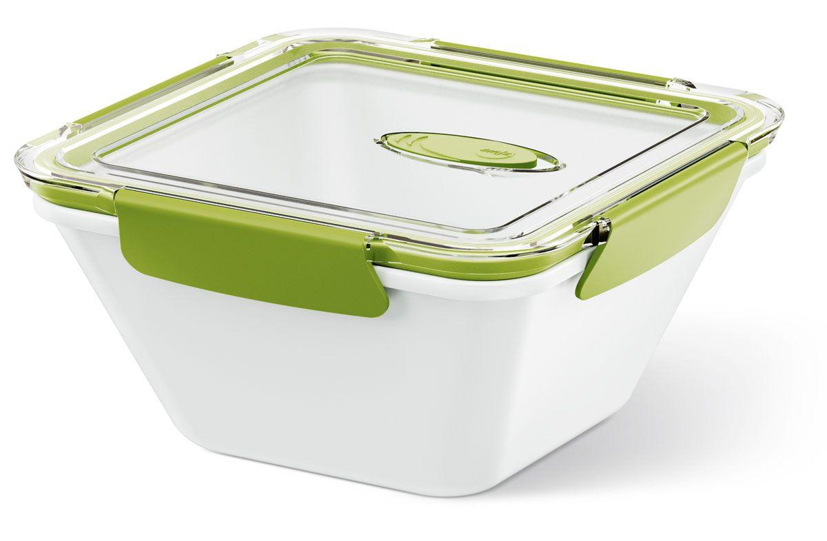 Ланч-бокс Emsa Bento Box, цвет: белый, зеленый, 1,5 л513961Ланч-бокс Emsa Bento Box - еда с собой в стильной упаковке. В удобном и практичном ланч-боксе еда дольше останется свежей, вкусной и надежно упакованной. На крышке имеется клапан для щадящего режима разогревания в микроволновке. Ланч-бокс подходит не только для разогрева пищи, но и для заморозки. Можно мыть в посудомоечной машине. Современный дизайн позволяет брать контейнер с собой на учебу, работу или прогулку.