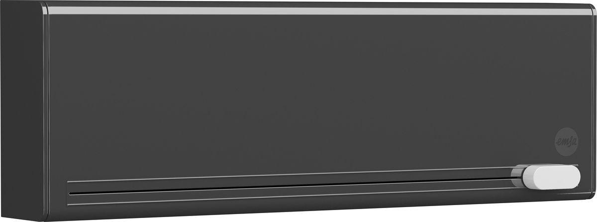 Диспенсер для пленки и фольги Emsa Smart, цвет: черный. 515232515232Диспенсер для плёнки и фольги на два рулона EMSA SMART. С помощью диспенсера можно легко и компактно разместить два рулона в кухонном шкафу. Благодаря умной системе лезвий отделить пищевую пленку или алюминиевую фольгу получится без рваных краев – скомканный край пленки остался в прошлом. Умный разрезатель пленки можно приобрести в ярких расцветках. А еще его можно прикрепить, не прибегая к сверлу, с помощью монтажной ленты Tesa Powerbond в любом понравившемся месте. Несмотря на свои небольшие габариты 38 x 12,8 x 7,7 см он подходит для пищевых пленок длиной до 34 см. В 2015 году данный разрезатель пленки был удостоен награды «Plus X Award» за свой дизайн и удобство в использовании. Гарантия 2 года.