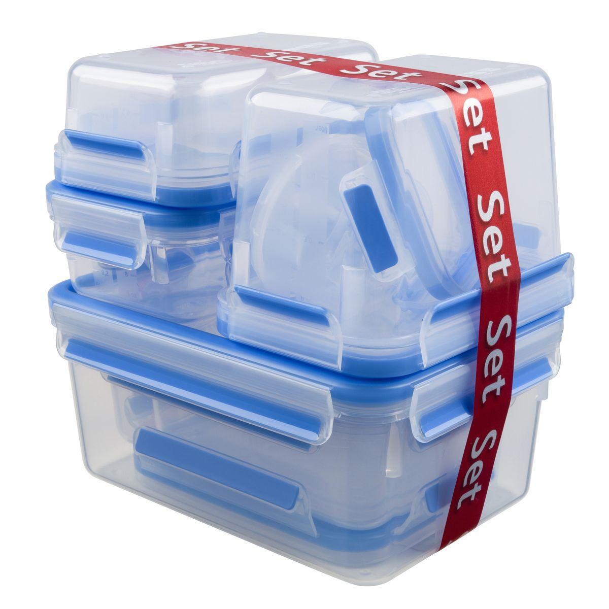 Набор контейнеров Emsa Clip&Close, 9 шт. 515481515481Набор из 9-ти пластиковых контейнеров для хранения продуктов, объёмы: 0.15 л (размеры: 9.2 x 5.9 см) 0.25 л (размеры: 10.2 x 10.2 x 5.9 см) 0.55 л х 3 шт (размеры: 16.3 x 11.3 x 5.8 см) 0.55 л с 2-мя отделениями (размеры: 16.3 x 11.3 x 5.8 см) 1.00 л (размеры: 19.7 x 13.6 x 7.2 см) 1.10 л (размеры: 26.3 x 19.5 x 11 см) 2.30 л (размеры: 26.3 x 19.5 x 11 см) Контейнеры изготовлены из высококачественного антибактериального пищевого пластика, имеющего сертификат BPA-free, который выдерживает температуру от -40°С до +110°С, не впитывает запахи и не изменяет цвет. Это абсолютно гигиеничный продукт, который подходит для хранения даже детского питания. - 100% герметичность – идеально не только для хранения, но и для транспортировки пищи. Герметичность достигается за счет специальных силиконовых прослоек, которые позволяют использовать контейнер для хранения не только пищи, но и жидкости. В таком контейнере продукты долгое время сохраняют свою свежесть –до 4-х раз дольше по сравнению с...