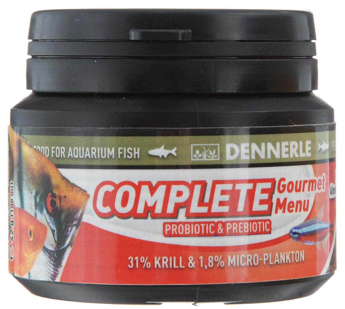 Корм Dennerle Complete Gourmet Menu, для аквариумных рыб, 42 гDEN7506Корм Dennerle Complete Gourmet Menu разработан для обитателей классического общего аквариума. Корм в форме гранул состоит из 30 различных ингредиентов и хорошо поедаются рыбами любого размера. Состоит из натуральных рачков и моллюсков (60%) и натуральных водорослей (4%). Первый корм для рыб с листьями «чудесного» дерева моринга (Moringa olifera), богатыми различными микроэлементами и витаминами. Состав: арктический криль (31%), пшеничный протеин, каракатица, жир морских животных с омега-3 ПНЖК, речной бокоплав, водяная блоха, кузнечик, личинка мухи, известковые красные водоросли, дрожжевой экстракт, экстракт зеленого губчатого моллюска, артемия и науплия артемии, моринга масличная, цикория инулина, шпинат, красная личинка комара, Nannochloropsis водоросли (1%), травяной экстракт, капуста белокочанная, спирулина платенсис (0,5%), мелисса, чеснок, мокрица, водоросли хлорелла (0,3%), фенхель, анис, цветочная пыльца, порошок виноградных косточек, бета- ...