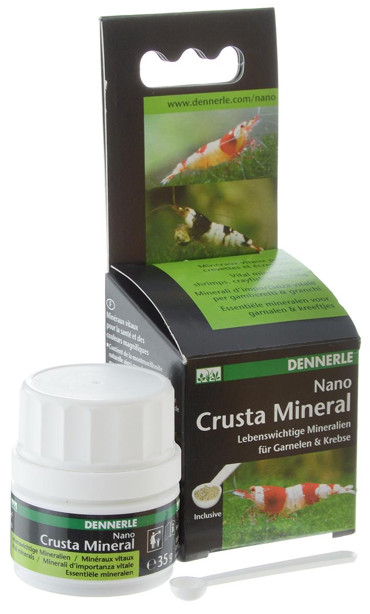 Комплекс минералов Dennerle NANO Crusta Mineral, для креветок, раков и сомов, 35 гDEN5864Dennerle NANO Crusta Mineral - мультиминеральный препарат, содержащий монтмориллонитовую глину. Комплекс минералов содержит биоактивный кальций и магний для беспроблемной линьки, здорового роста и прочного экзоскелета, также способствует усилению белой окраски всех видов креветок Caridina и Neocaridina. Дозировка и способ применения: 2 мерные ложки с небольшой горкой на 10 л аквариумной воды каждую неделю. Более высокая дозировка возможна в тех случаях, когда это необходимо. Размешайте NANO Crusta Mineral в воде, а затем разлейте равномерно по аквариуму. Незначительные помутнение воды исчезает в течение нескольких часов. Эта дозировка добавляет около 1,42 мг/л кальция и 0,23 мг/л магния в воде и повышает общую жесткость на 0,25°d. Не приводит к увеличению карбонатной жесткости.