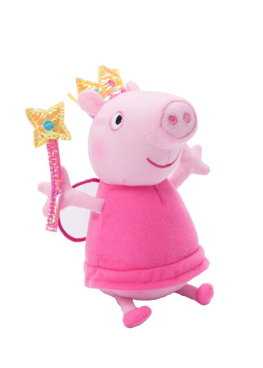Peppa Pig Мягкая игрушка Пеппа Фея с палочкой 20 см31152Очаровательная мягкая игрушка Свинки Пеппы в виде Феи с крылышками и волшебной палочкой приведет в восторг вашу малышку и станет ей лучшей подругой. С любимой героиней мультфильма необыкновенно весело играть, игрушку легко можно брать с собой в садик или в гости. А если приобрести других персонажей из серии Peppa Pig, то ваша малышка оживит мультфильм прямо у вас дома, придумывая всё новые и новые приключения веселых героев. Мягкая игрушка Пеппа-фея с палочкой ТМ Свинка Пеппа высотой 20 см (размер указан с ножками) качественно сшита из мягкого, приятного на ощупь плюша, плотно набита. Глазки, носик и ротик вышиты. Корона, крылья и волшебная палочка выполнены из фетра и блестящего материала. Товар сертифицирован. Упаковка - пакет.