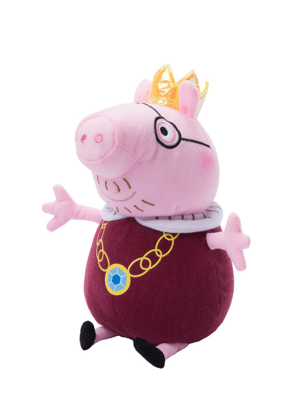 Peppa Pig Мягкая игрушка Папа Свин-король 30 см31154Обаятельная мягкая игрушка Папа Свин-король - это отличный подарок для вашего малыша. С ней можно весело играть днем и сладко спать ночью. А чтобы ваш маленький фантазер по-настоящему оживил приключения своих любимых героев, вы можете приобрести других персонажей из серии Peppa Pig. Мягкая игрушка Папа Свин-король ТМ Свинка Пеппа высотой 30 см (размер указан с ножками) качественно сшита из мягкого, приятного на ощупь плюша, плотно набита. Глазки, носик и ротик вышиты. Корона выполнена из фетра и блестящего материала.