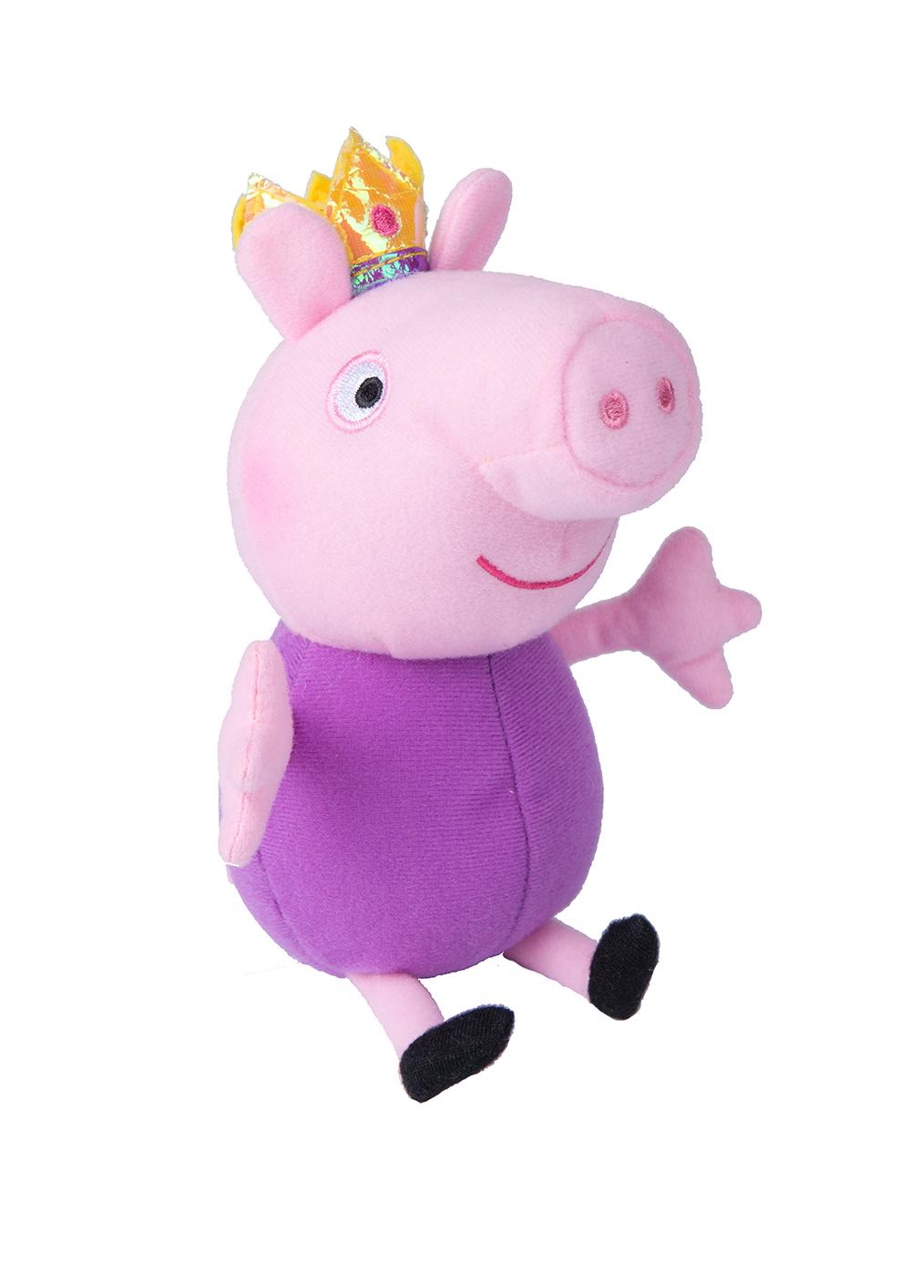 Peppa Pig Мягкая игрушка Джордж-принц 20 см31150Чудесная мягкая игрушка Джордж-принц станет вашему малышу отличным другом. С любимым героем мультфильма необыкновенно весело играть, его легко можно брать с собой в садик или в гости. Сны в обнимку с забавным плюшевым другом станут гораздо слаще и красочней. Если приобрести других персонажей из серии Peppa Pig, то ваш малыш оживит приключения своих любимых героев прямо у вас дома. Мягкая игрушка Джордж-принц ТМ Свинка Пеппа высотой 20 см (размер указан с ножками) качественно сшита из мягкого, приятного на ощупь плюша, плотно набита. Глазки, носик и ротик вышиты. Корона выполнена из фетра и блестящего материала.