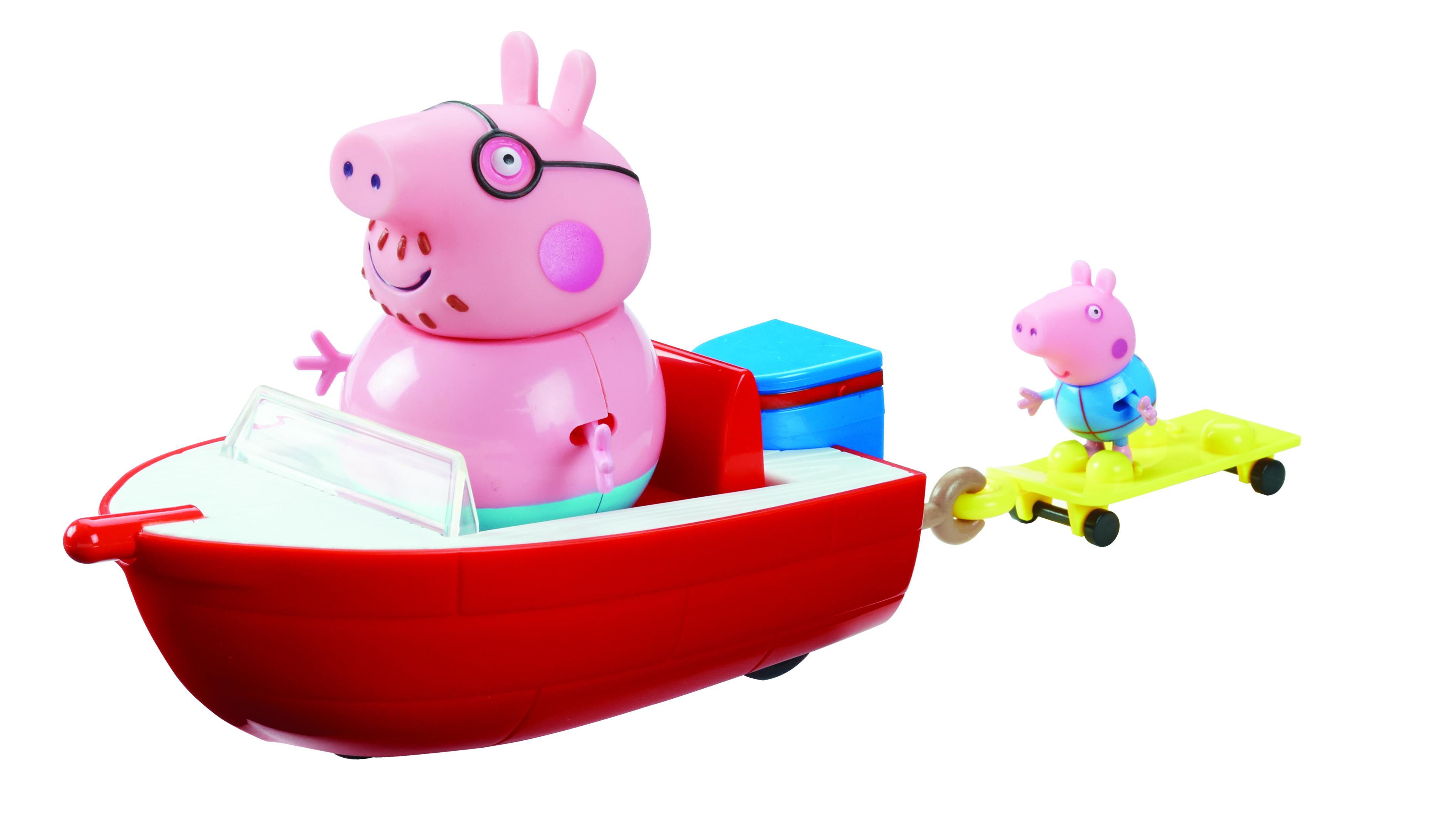 Peppa Pig Набор фигурок Моторная лодка30629Папа Свин и Джордж отправляются на морскую прогулку. Для этого у них есть одноместная моторная лодка и двухместная водная доска с держателями для ножек в виде удобных тапочек. Чтобы игра была еще интереснее, вы можете приобрести дополнительные игрушки из серии Свинка Пеппа. Такая веселая сюжетно-ролевая игра развивает у детей воображение, координацию движений, навыки общения, помогают обмениваться опытом и знаниями. В наборе Моторная лодка 4 предмета: моторная лодка размером 17x9x6 см на колесиках с сидением для Папы Свина, водная доска размером 8х3,7х1,5 см на колесиках с креплениями для ножек Пеппы и Джорджа, прикрепленная к лодке с помощью выдвигающегося держателя, 2 фигурки в купальных костюмах с подвижными ручками и ножками: Папа (10 см) и Джордж (4,5 см) с нарукавниками для плавания (не снимаются). Игрушки выполнены из качественного пластика и пластизоля.