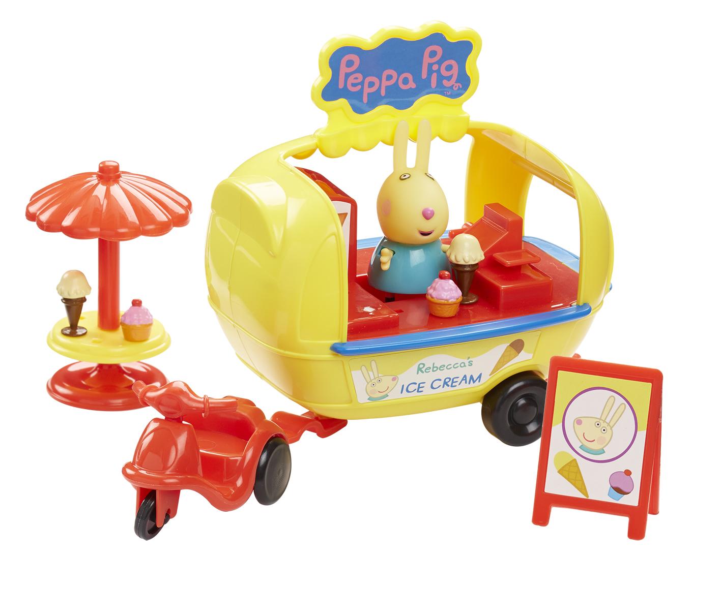 Peppa Pig Набор фигурок Кафе-мороженое Ребекки30628Кролик Ребекка решила устроить настоящий праздник мороженого, и теперь она всем продает любимое лакомство. Ваш малыш хочет присоединиться к ее увлекательному занятию? Тогда игровой набор Кафе-мороженое Ребекки ТМ Свинка Пеппа ему поможет в этом. В комплекте 8 предметов: красный одноместный трицикл, соединенный с красно-желтым фургоном-прилавком с окошками и вывеской Кафе-мороженное Ребекки (размер фургона: 13x13x10 см), фигурка Ребекки (5,5 см) с подвижными ручками и ножками, 3 рожка с мороженым, столик с зонтиком, доска объявлений. Сюжетно-ролевая игра с этим набором активно развивает у детей воображение, координацию движений, творческое мышление и навыки общения. А чтобы эта веселая игра стала еще интереснее, можно дополнительно приобрести другие игрушки из серии Свинка Пеппа. Игрушки выполнены из качественного пластика и пластизоля.