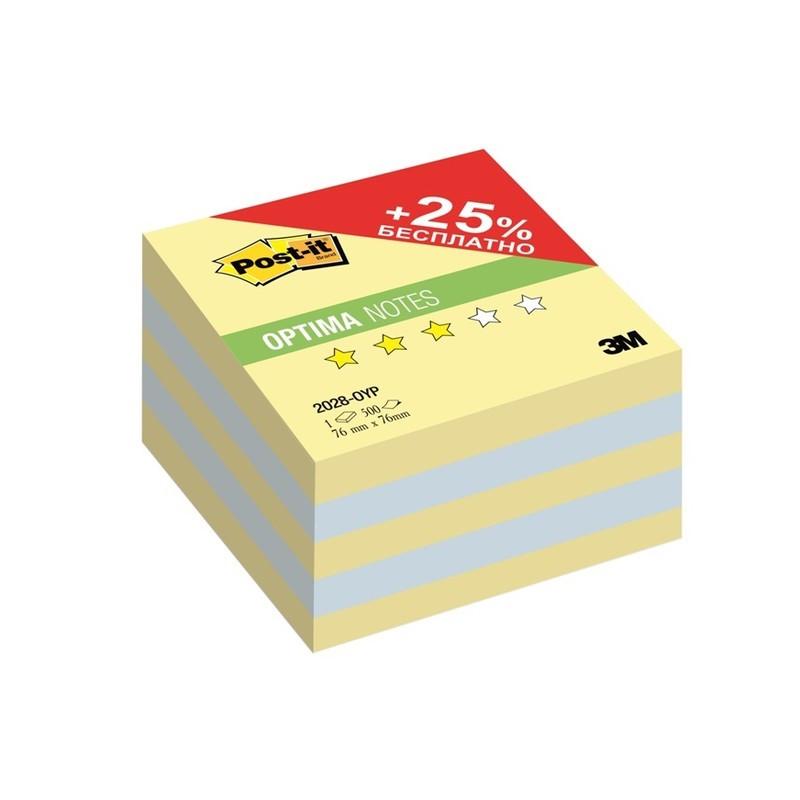 Post-it Optima Бумага для заметок Осень с липким слоем цвет канареечно желтый 500 листов2028-OYPСтикеры Post-it Optima 2028-OYP Осень ПЛЮС 23 Н/м 76х76 мм канар.желтый 500 л