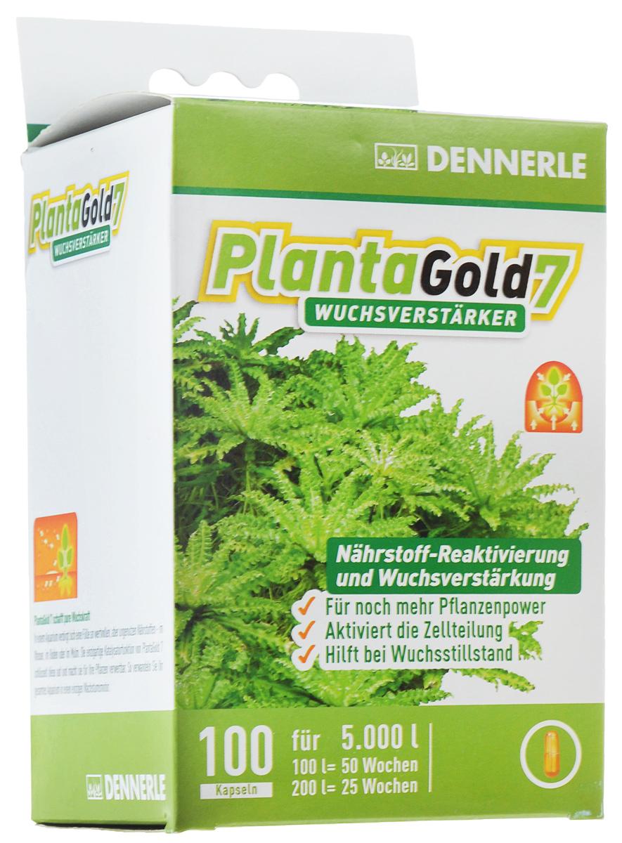 Удобрение для аквариумных растений Dennerle Planta Gold 7, стимулятор роста, в капсулах, 100 штDEN4475Удобрение Dennerle Planta Gold 7 предназначено для активной стимуляции роста всех видов аквариумных растений. Натуральные биоэнзимы активируют деление клеток и, как следствие, стимулируют рост. Удобрение восстанавливает неиспользованные питательные вещества, делая их вновь доступными для растений. Planta Gold 7 эффективно помогает при замедлении роста. Дозировка: 1 капсула на 50 литров аквариумной воды раз в неделю.
