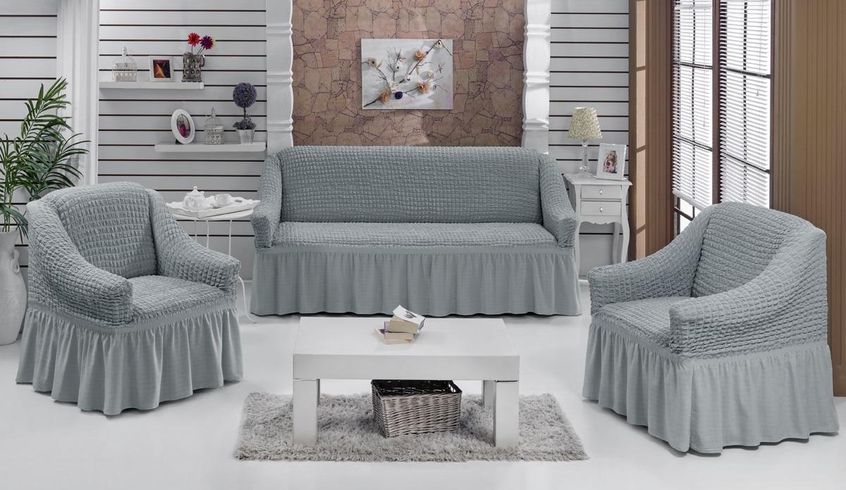 Набор чехлов для мягкой мебели Burumcuk Bulsan, цвет: серый, размер: стандарт, 3 шт1717/CHAR004Набор чехлов для мягкой мебели Burumcuk Bulsan придаст вашей мебели новый внешний вид. Каждый элемент интерьера нуждается в уходе и защите. В большинстве случаев потертости появляются на диванах и креслах. В набор входит чехол для трехместного дивана и два чехла для кресла. Чехлы изготовлены из 60% полиэстера и 40% хлопка. Такой материал прекрасно переносит нагрузки, долго не стареет и его просто очистить от грязи. Набор чехлов Karna Bulsan создан для тех, кто не планирует покупать новую мебель каждый год. Размер кресла: Ширина и глубина посадочного места: 70-80 см. Высота спинки от посадочного места: 70-80 см. Высота подлокотников: 35-45 см. Ширина подлокотников: 25-35 см. Высота юбки: 35 см. Размер дивана: Ширина посадочного места: 210-260 см. Глубина посадочного места: 70-80см. Высота спинки от посадочного места: 70-80 см. Ширина подлокотников: 25-35 см. Высота юбки: 35 см.