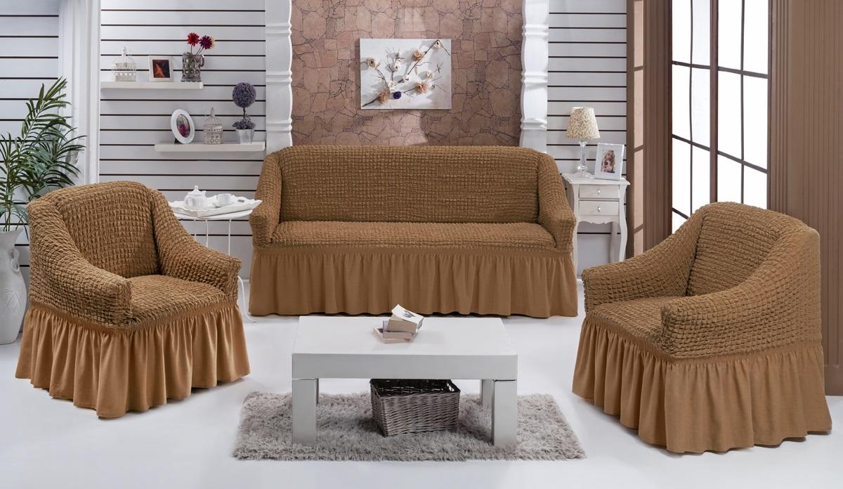 Набор чехлов для мягкой мебели Burumcuk Bulsan, цвет: горчичный, размер: стандарт, 3 шт1717/CHAR006Набор чехлов для мягкой мебели Burumcuk Bulsan придаст вашей мебели новый внешний вид. Каждый элемент интерьера нуждается в уходе и защите. В большинстве случаев потертости появляются на диванах и креслах. В набор входят чехол для трехместного дивана и два чехла для кресла. Чехлы изготовлены из 60% полиэстера и 40% хлопка. Такой материал прекрасно переносит нагрузки, долго не стареет и его просто очистить от грязи. Набор чехлов Karna Bulsan создан для тех, кто не планирует покупать новую мебель каждый год. Размер кресла: Ширина и глубина посадочного места: 70-80 см. Высота спинки от посадочного места: 70-80 см. Высота подлокотников: 35-45 см. Ширина подлокотников: 25-35 см. Высота юбки: 35 см. Размер дивана: Ширина посадочного места: 210-260 см. Глубина посадочного места: 70-80 см. Высота спинки от посадочного места: 70-80 см. Ширина подлокотников: 25-35 см. Высота юбки: 35 см.