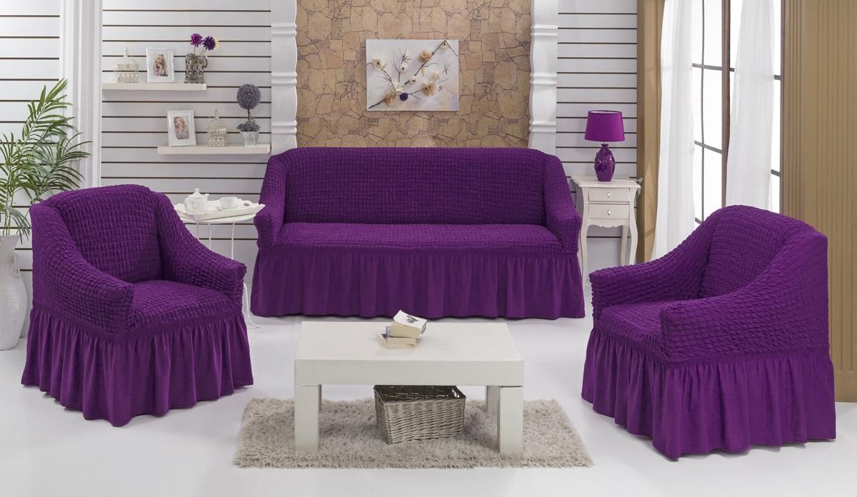Набор чехлов для мягкой мебели Burumcuk Bulsan, цвет: фиолетовый, размер: стандарт, 3 шт1717/CHAR009Набор чехлов для мягкой мебели Burumcuk Bulsan придаст вашей мебели новый внешний вид. Каждый элемент интерьера нуждается в уходе и защите. В большинстве случаев потертости появляются на диванах и креслах. В набор входит чехол для трехместного дивана и два чехла для кресла. Чехлы изготовлены из 60% полиэстера и 40% хлопка. Такой материал прекрасно переносит нагрузки, долго не стареет и его просто очистить от грязи. Набор чехлов Karna Bulsan создан для тех, кто не планирует покупать новую мебель каждый год. Размер кресла: Ширина и глубина посадочного места: 70-80 см. Высота спинки от посадочного места: 70-80 см. Высота подлокотников: 35-45 см. Ширина подлокотников: 25-35 см. Высота юбки: 35 см. Размер дивана: Ширина посадочного места: 210-260 см. Глубина посадочного места: 70-80см. Высота спинки от посадочного места: 70-80 см. Ширина подлокотников: 25-35 см. Высота юбки: 35 см.