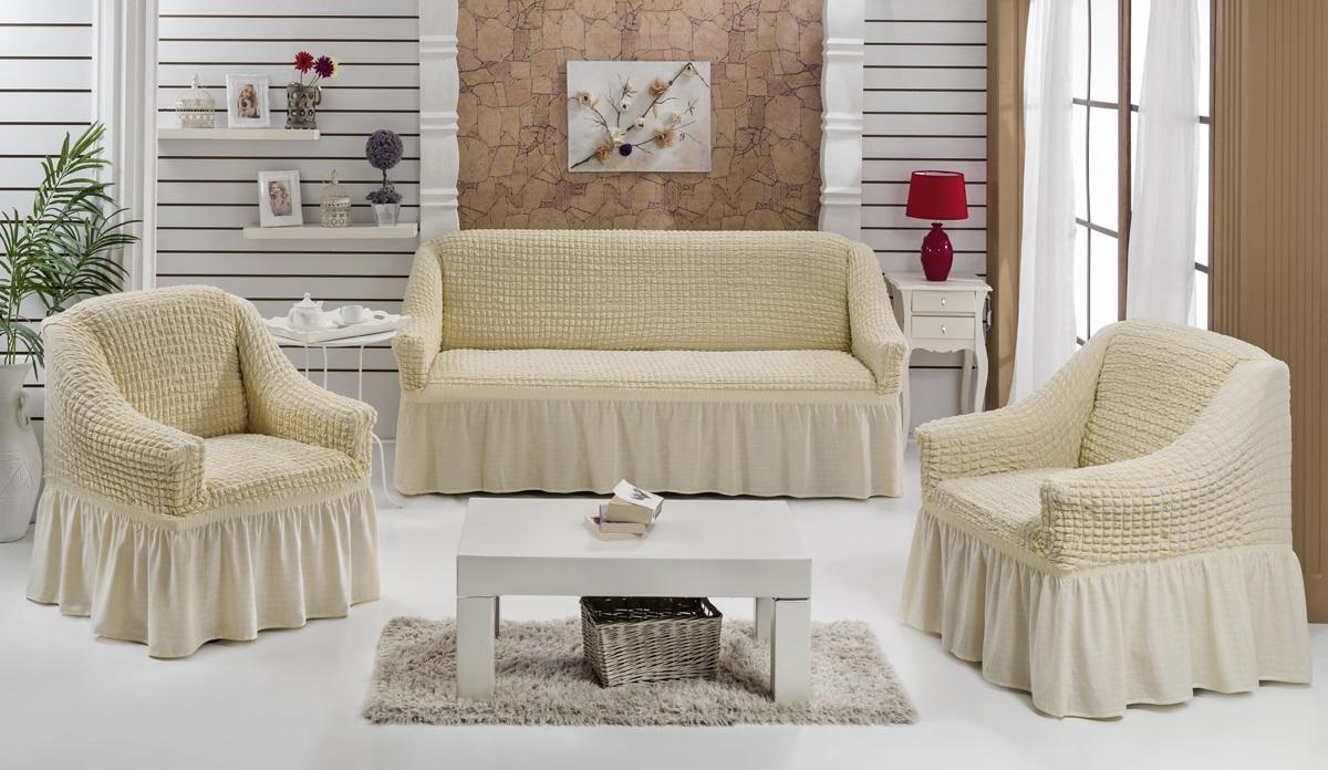 Набор чехлов для мягкой мебели Burumcuk Bulsan, цвет: светло-бежевый, размер: стандарт, 3 шт1717/CHAR010Набор чехлов для мягкой мебели Burumcuk Bulsan придаст вашей мебели новый внешний вид. Каждый элемент интерьера нуждается в уходе и защите. В большинстве случаев потертости появляются на диванах и креслах. В набор входят чехол для трехместного дивана и два чехла для кресла. Чехлы изготовлены из 60% полиэстера и 40% хлопка. Такой материал прекрасно переносит нагрузки, долго не стареет и его просто очистить от грязи. Набор чехлов Karna Bulsan создан для тех, кто не планирует покупать новую мебель каждый год. Размер кресла: Ширина и глубина посадочного места: 70-80 см. Высота спинки от посадочного места: 70-80 см. Высота подлокотников: 35-45 см. Ширина подлокотников: 25-35 см. Высота юбки: 35 см. Размер дивана: Ширина посадочного места: 210-260 см. Глубина посадочного места: 70-80 см. Высота спинки от посадочного места: 70-80 см. Ширина подлокотников: 25-35 см. Высота юбки: 35 см.