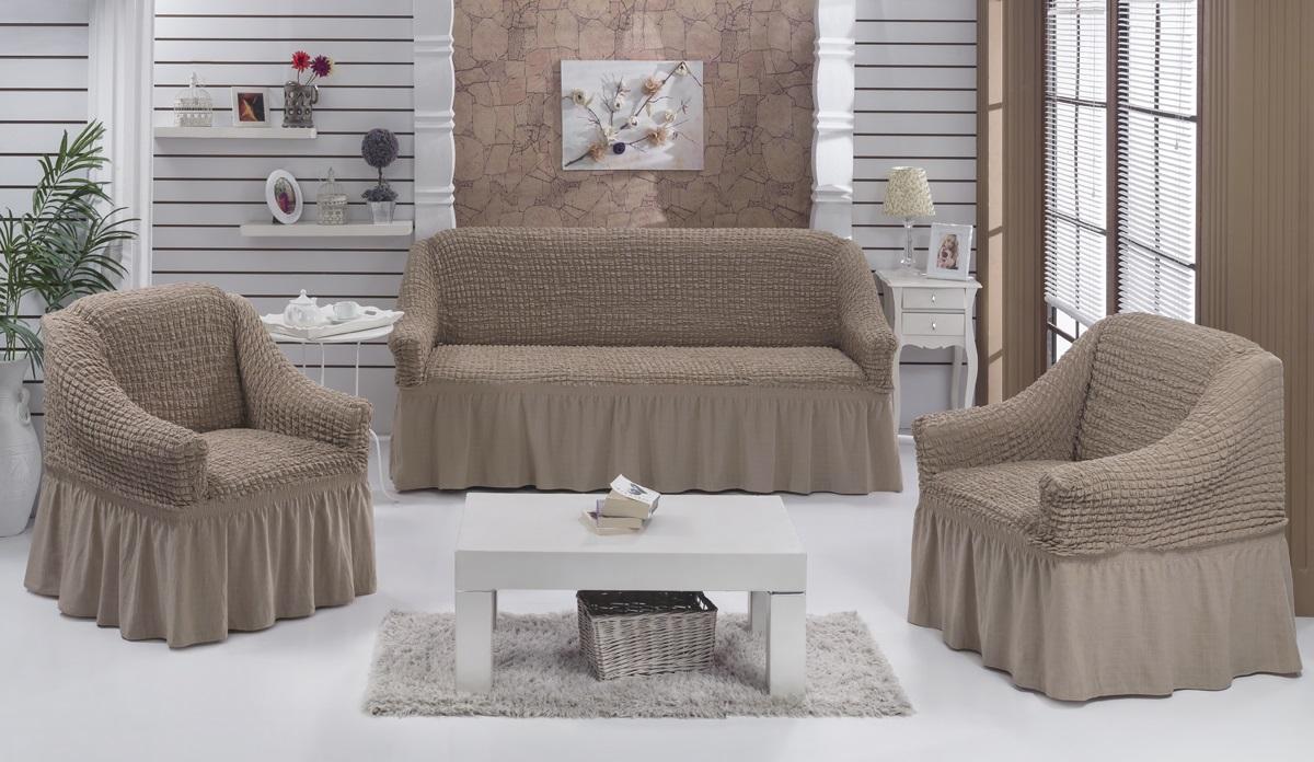 Набор чехлов для мягкой мебели Burumcuk Bulsan, цвет: капучино, размер: стандарт, 3 шт1717/CHAR011Набор чехлов для мягкой мебели Burumcuk Bulsan придаст вашей мебели новый внешний вид. Каждый элемент интерьера нуждается в уходе и защите. В большинстве случаев потертости появляются на диванах и креслах. В набор входит чехол для трехместного дивана и два чехла для кресла. Чехлы изготовлены из 60% полиэстера и 40% хлопка. Такой материал прекрасно переносит нагрузки, долго не стареет и его просто очистить от грязи. Набор чехлов Karna Bulsan создан для тех, кто не планирует покупать новую мебель каждый год. Размер кресла: Ширина и глубина посадочного места: 70-80 см. Высота спинки от посадочного места: 70-80 см. Высота подлокотников: 35-45 см. Ширина подлокотников: 25-35 см. Высота юбки: 35 см. Размер дивана: Ширина посадочного места: 210-260 см. Глубина посадочного места: 70-80см. Высота спинки от посадочного места: 70-80 см. Ширина подлокотников: 25-35 см. Высота юбки: 35 см.