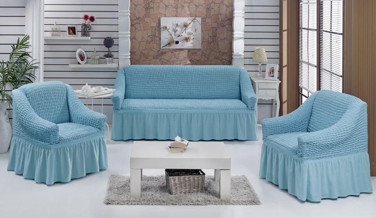 Набор чехлов для мягкой мебели Burumcuk Bulsan, цвет: голубой, размер: стандарт, 3 шт1717/CHAR014Набор чехлов для мягкой мебели Burumcuk Bulsan придаст вашей мебели новый внешний вид. Каждый элемент интерьера нуждается в уходе и защите. В большинстве случаев потертости появляются на диванах и креслах. В набор входит чехол для трехместного дивана и два чехла для кресла. Чехлы изготовлены из 60% полиэстера и 40% хлопка. Такой материал прекрасно переносит нагрузки, долго не стареет и его просто очистить от грязи. Набор чехлов Karna Bulsan создан для тех, кто не планирует покупать новую мебель каждый год. Размер кресла: Ширина и глубина посадочного места: 70-80 см. Высота спинки от посадочного места: 70-80 см. Высота подлокотников: 35-45 см. Ширина подлокотников: 25-35 см. Высота юбки: 35 см. Размер дивана: Ширина посадочного места: 210-260 см. Глубина посадочного места: 70-80см. Высота спинки от посадочного места: 70-80 см. Ширина подлокотников: 25-35 см. Высота юбки: 35 см.