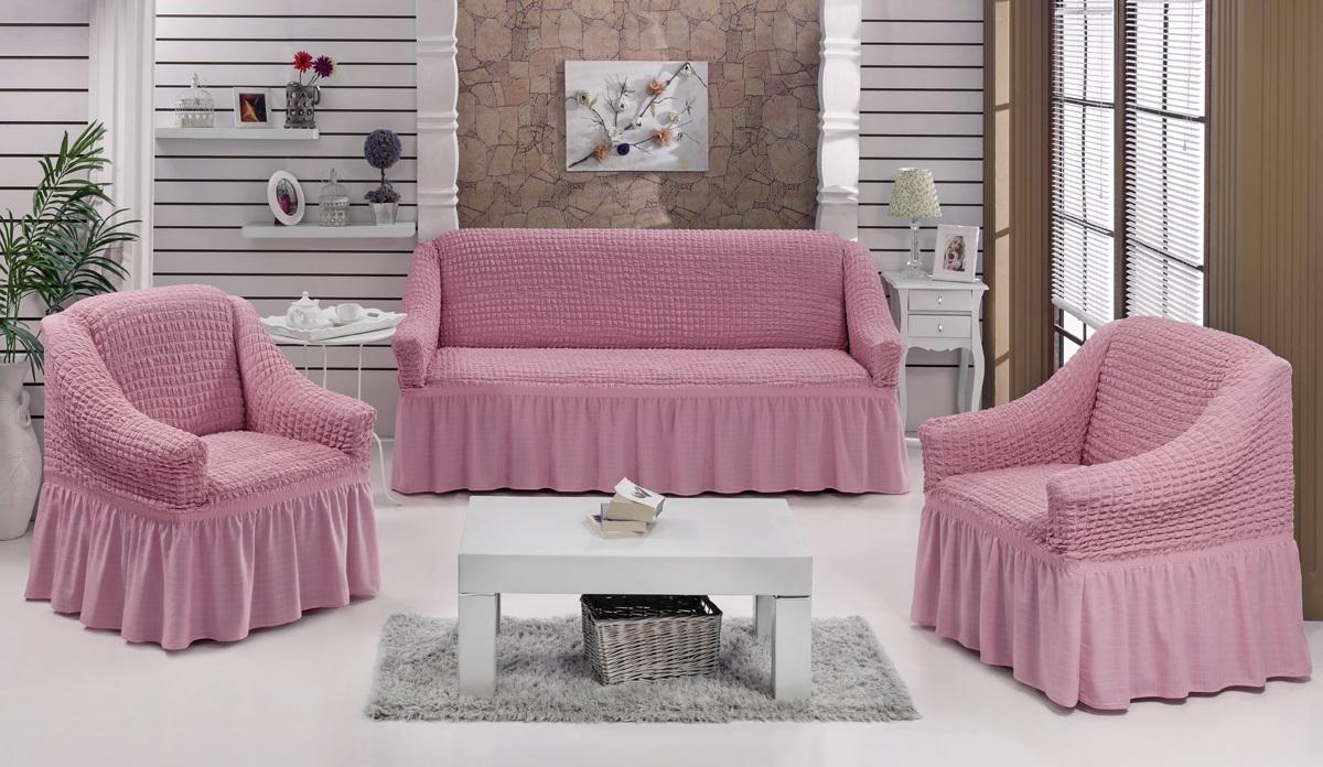 Набор чехлов для мягкой мебели Burumcuk Bulsan, цвет: розовый, размер: стандарт, 3 шт1717/CHAR017Набор чехлов для мягкой мебели Burumcuk Bulsan придаст вашей мебели новый внешний вид. Каждый элемент интерьера нуждается в уходе и защите. В большинстве случаев потертости появляются на диванах и креслах. В набор входят чехол для трехместного дивана и два чехла для кресла. Чехлы изготовлены из 60% полиэстера и 40% хлопка. Такой материал прекрасно переносит нагрузки, долго не стареет и его просто очистить от грязи. Набор чехлов Karna Bulsan создан для тех, кто не планирует покупать новую мебель каждый год. Размер кресла: Ширина и глубина посадочного места: 70-80 см. Высота спинки от посадочного места: 70-80 см. Высота подлокотников: 35-45 см. Ширина подлокотников: 25-35 см. Высота юбки: 35 см. Размер дивана: Ширина посадочного места: 210-260 см. Глубина посадочного места: 70-80 см. Высота спинки от посадочного места: 70-80 см. Ширина подлокотников: 25-35 см. Высота юбки: 35 см.