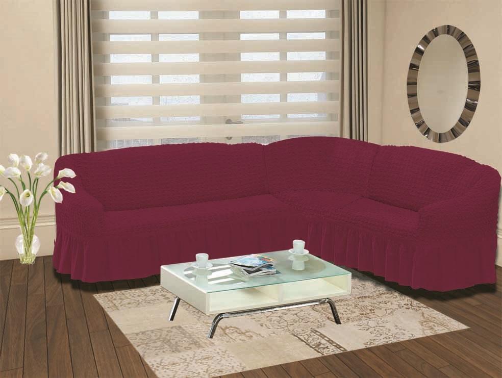 Чехол для дивана Burumcuk Bulsan, угловой, правосторонний, пятиместный, цвет: вишневый1798/CHAR013Чехол для дивана Burumcuk выполнен из высококачественного полиэстера и хлопка с красивым рельефом. Предназначен для углового дивана. Такой чехол изысканно дополнит интерьер вашего дома. Ширина посадочных мест короткой стороны: 140-190 см. Ширина посадочных мест длинной стороны: 210-260 см. Глубина посадочных мест: 70-80 см. Высота спинки от посадочного места: 70-80 см. Ширина подлокотников: 25-35 см. Высота юбки: 35 см. Тянется: + 30 см.