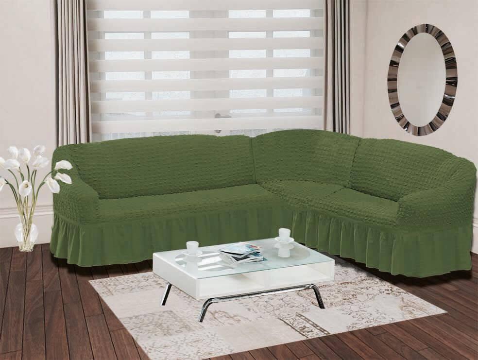 Чехол для дивана Burumcuk Bulsan, угловой, правосторонний, пятиместный, цвет: зеленый1798/CHAR015Чехол для дивана Burumcuk выполнен из высококачественного полиэстера и хлопка с красивым рельефом. Предназначен для углового дивана. Такой чехол изысканно дополнит интерьер вашего дома. Ширина посадочных мест короткой стороны: 140-190 см. Ширина посадочных мест длинной стороны: 210-260 см. Глубина посадочных мест: 70-80 см. Высота спинки от посадочного места: 70-80 см. Ширина подлокотников: 25-35 см. Высота юбки: 35 см. Тянется: + 30 см.