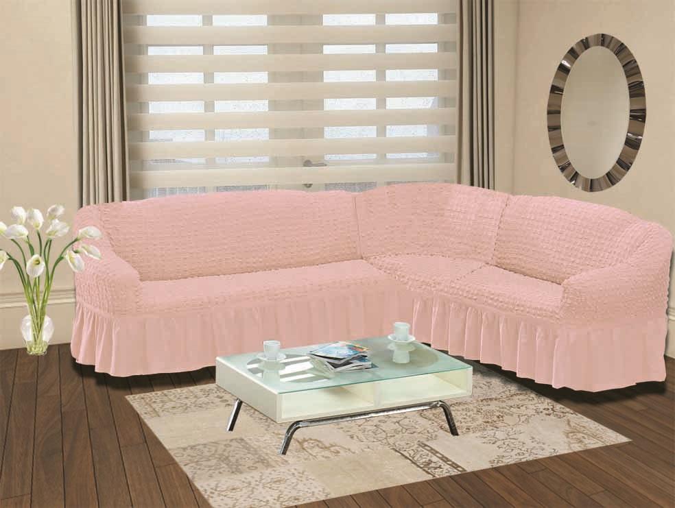 Чехол для дивана Burumcuk «Bulsan», угловой, правосторонний, пятиместный, цвет: розовый  тумбочка под телефон купить