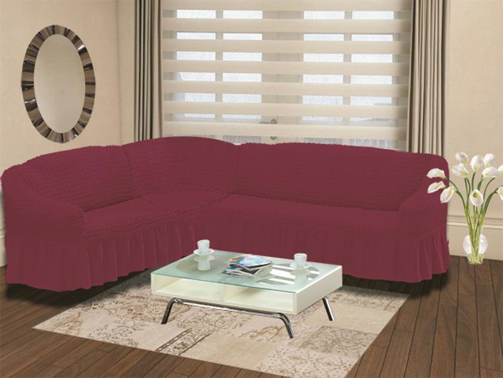 Чехол для дивана Burumcuk Bulsan, угловой, левосторонний, пятиместный, цвет: бордовый1907/CHAR005Чехол для дивана Burumcuk выполнен из высококачественного полиэстера и хлопка с красивым рельефом. Предназначен для углового дивана. Такой чехол изысканно дополнит интерьер вашего дома. Ширина посадочных мест короткой стороны: 140-190 см. Ширина посадочных мест длинной стороны: 210-260 см. Глубина посадочных мест: 70-80 см. Высота спинки от посадочного места: 70-80 см. Ширина подлокотников: 25-35 см. Высота юбки: 35 см. Тянется: + 30 см.
