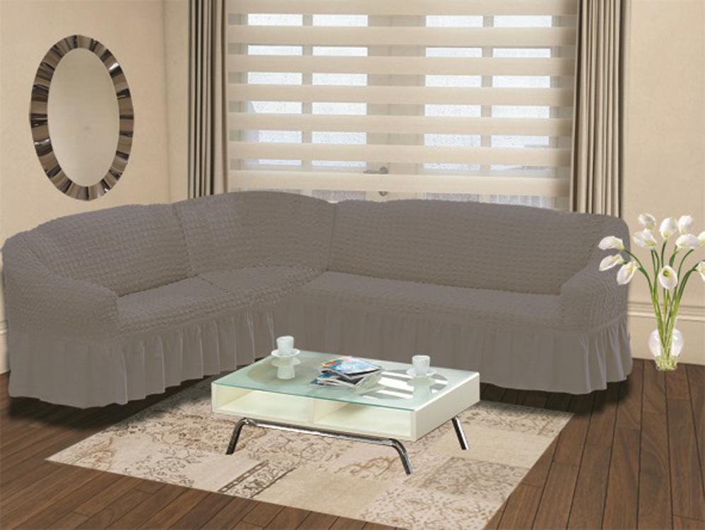 Чехол для дивана Burumcuk «Bulsan», угловой, левосторонний, пятиместный, цвет: серый  комод forest морячок пеленальный