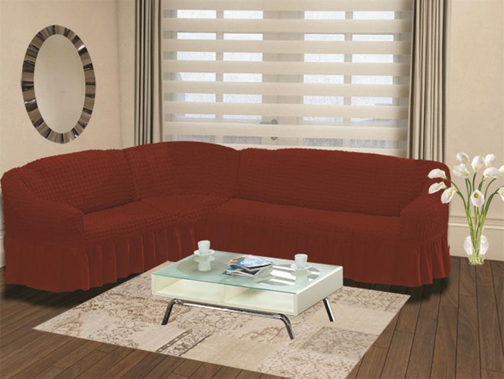 Чехол для дивана Burumcuk Bulsan, угловой, левосторонний, пятиместный, цвет: кирпичный1907/CHAR009Чехол для дивана Burumcuk выполнен из высококачественного полиэстера и хлопка с красивым рельефом. Предназначен для углового дивана. Такой чехол изысканно дополнит интерьер вашего дома. Ширина посадочных мест короткой стороны: 140-190 см. Ширина посадочных мест длинной стороны: 210-260 см. Глубина посадочных мест: 70-80 см. Высота спинки от посадочного места: 70-80 см. Ширина подлокотников: 25-35 см. Высота юбки: 35 см. Тянется: + 30 см.