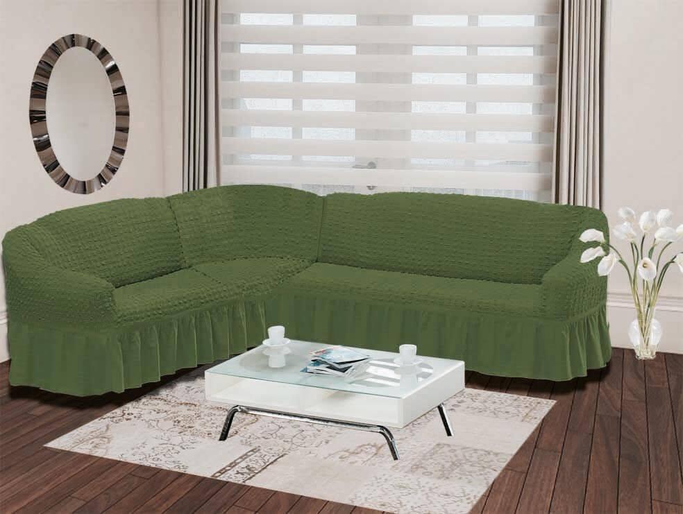 Чехол для дивана Burumcuk Bulsan, угловой, левосторонний, пятиместный, цвет: зеленый1907/CHAR015Чехол для дивана Burumcuk выполнен из высококачественного полиэстера и хлопка с красивым рельефом. Предназначен для углового дивана. Такой чехол изысканно дополнит интерьер вашего дома. Ширина посадочных мест короткой стороны: 140-190 см. Ширина посадочных мест длинной стороны: 210-260 см. Глубина посадочных мест: 70-80 см. Высота спинки от посадочного места: 70-80 см. Ширина подлокотников: 25-35 см. Высота юбки: 35 см. Тянется: + 30 см.