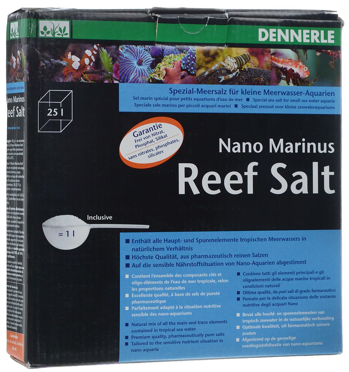 Морская соль Dennerle Nano Marinus ReefSalt, 1 кгDEN5625Морская соль Dennerle Nano Marinus ReefSalt содержит все основные микроэлементы тропической морской воды в естественном соотношении. Dennerle Nano Marinus ReefSalt - идеальная основа жизни для коралловых раб, твердых и мягких кораллов, креветок, а также всех прочих обитателей коралловых рифов. Соль составлена с учетом повышенной чувствительности нано-аквариумов к питательным веществам. Не содержит нитратов, фосфатов, силикатов. В комплекте идет мерная ложечка.