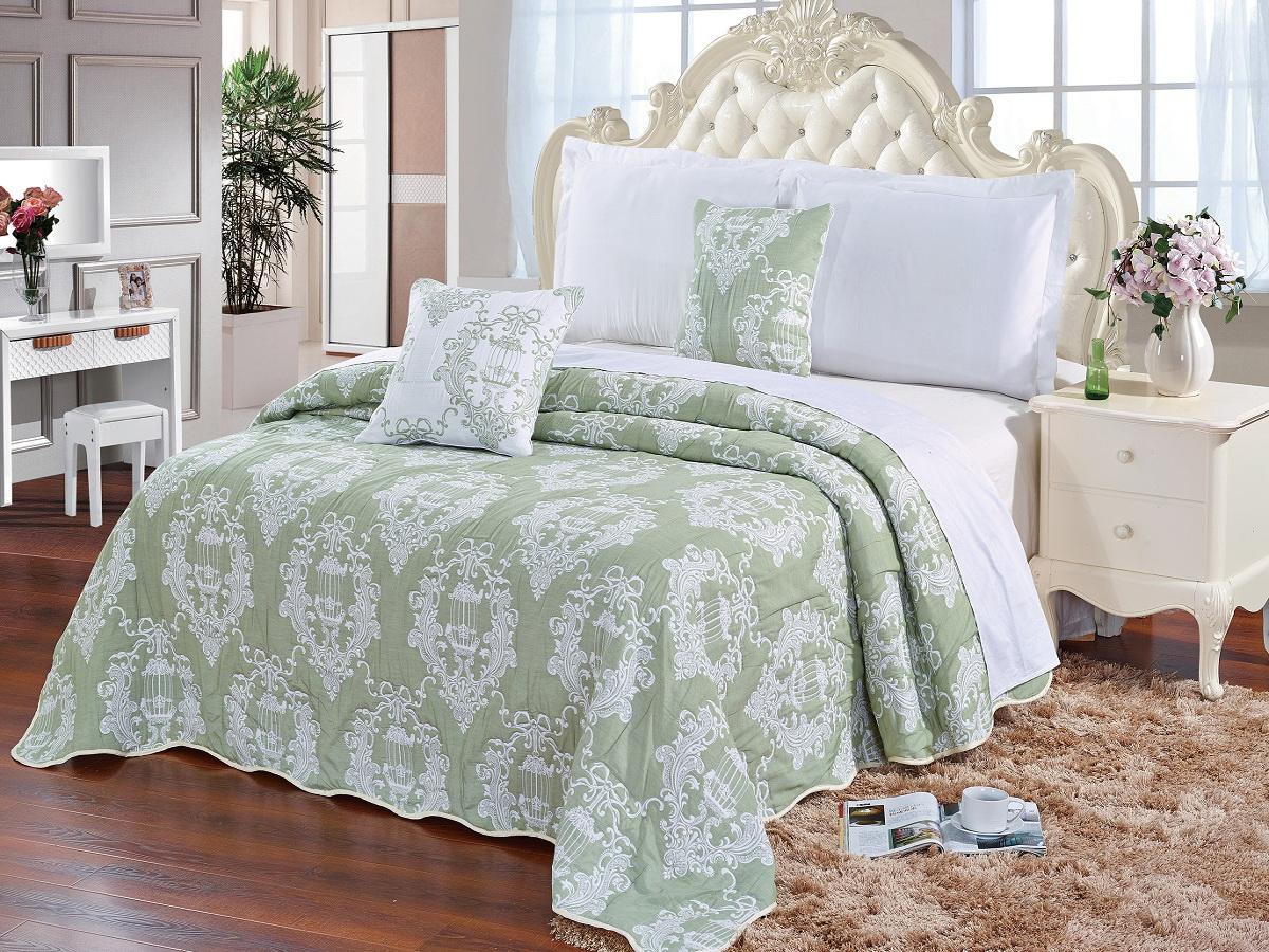Покрывало Cleo Грация, цвет: зеленый, 220 х 240 см290/001(2)-22-BRКрасивые, яркие, легкие и в меру объемные покрывала - они становятся настоящим украшением, завершающим штрихом интерьера, который преображает помещение, делая его уютным и комфортным. Состав этой коллекции - 100% хлопок. Это необыкновенно прочная, практичная, устойчивая к разнообразным воздействиям ткань. Рисунок, выполненный методом тиснения, сохраняет краски в течение долгого времени. Такое покрывало прослужит много лет, радуя вас и ваших близких изначальной яркостью своих красок.
