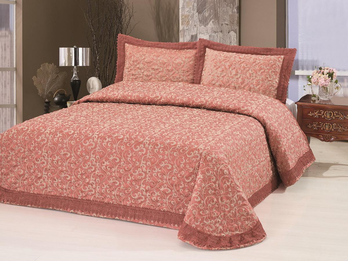 "Cleo Textile Комплект для спальни Cleo ""Жаккард"": покрывало 240 х 260 см, 2 наволочки 50 х 70 см, цвет: розовый 23-105CLJ"