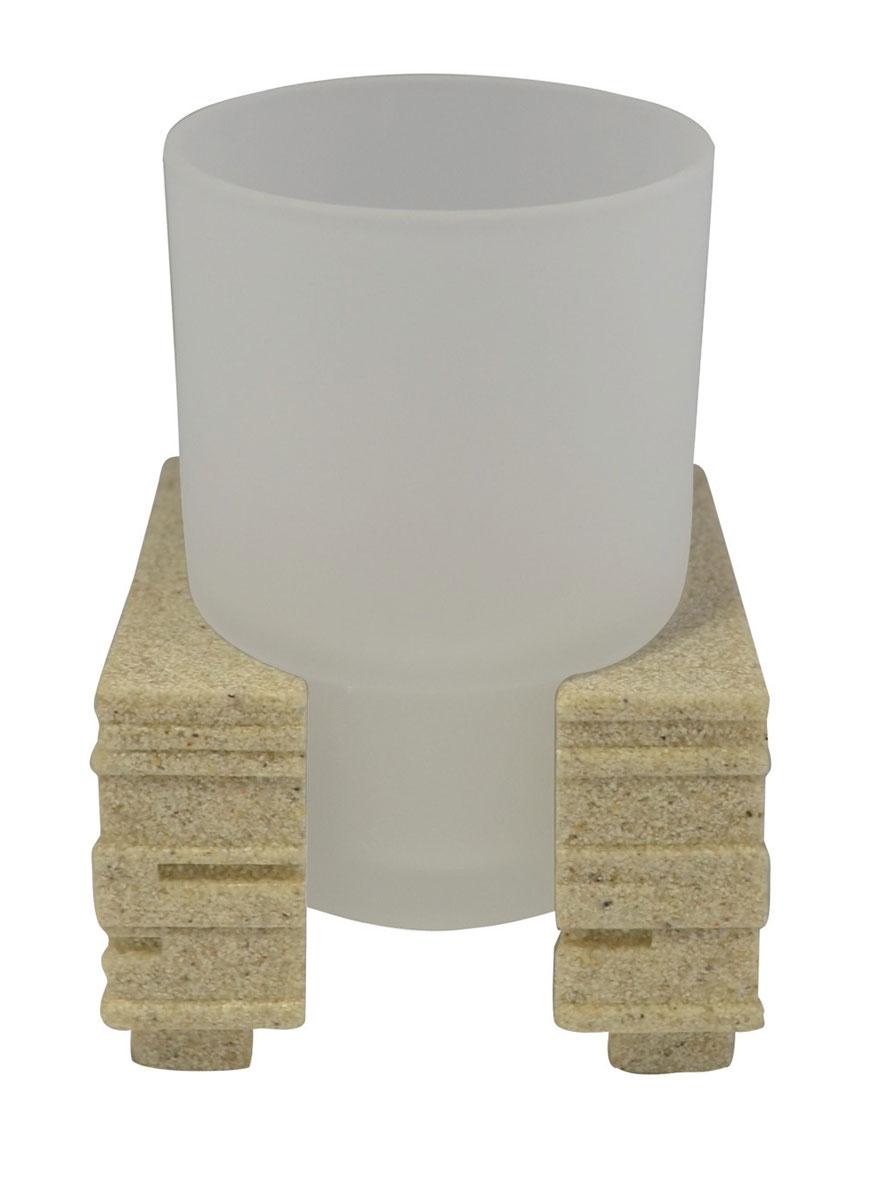 Стакан для ванной комнаты Ridder Brick, цвет: бежевый22150111Изделия данной серии устойчивы к ультрафиолету, т.к. изготавливаются из полирезины. Экологичная полирезина - это твердый многокомпонентный материал на основе синтетической смолы, с добавлением каменной крошки и красящих пигментов. Съемный стаканчик из матового стекла на подставке украсит ваш интерьер.