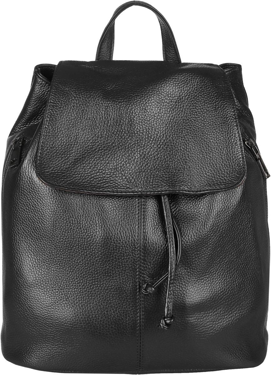 Рюкзак женский Janes Story, цвет: черный. KW-8883-04KW-8883-04Стильный женский рюкзак Janes Story выполнен из натуральной кожи. Изделие содержит одно отделение, закрывающееся с помощью затягивающего шнурка с фиксатором и клапаном с магнитным замком. Внутри расположены: два накладных кармана для мелочей и два кармана на молнии. По бокам рюкзак дополнен двумя карманами на молнии, сзади прорезным карманом на молнии. Рюкзак оснащен удобными лямками регулируемой длины, а также петлей для подвешивания. Такой модный рюкзак займет достойное место в вашем гардеробе.