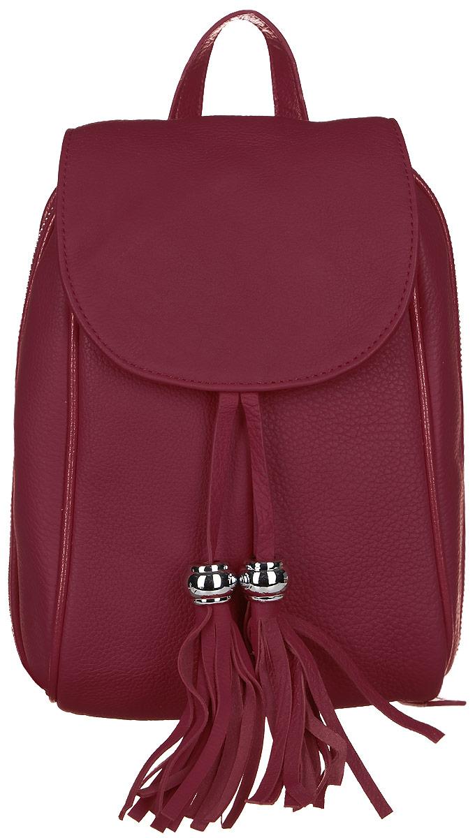 Рюкзак женский Janes Story, цвет: красный. AL-9018-12AL-9018-12Стильный женский рюкзак Janes Story выполнен из натуральной кожи зернистой фактуры. Изделие содержит отделение, закрывающееся с помощью металлической застежки-молнии и клапана с магнитным замком. Внутри расположены: два накладных кармана для мелочей и один карман на молнии. Спереди рюкзак дополнен одним карманом на молнии, сзади прорезным карманом на молнии. Рюкзак оснащен удобными лямками регулируемой длины, а также петлей для подвешивания. Модель дополнена подвесками с кисточками. Оригинальный аксессуар позволит вам завершить образ и быть неотразимой.