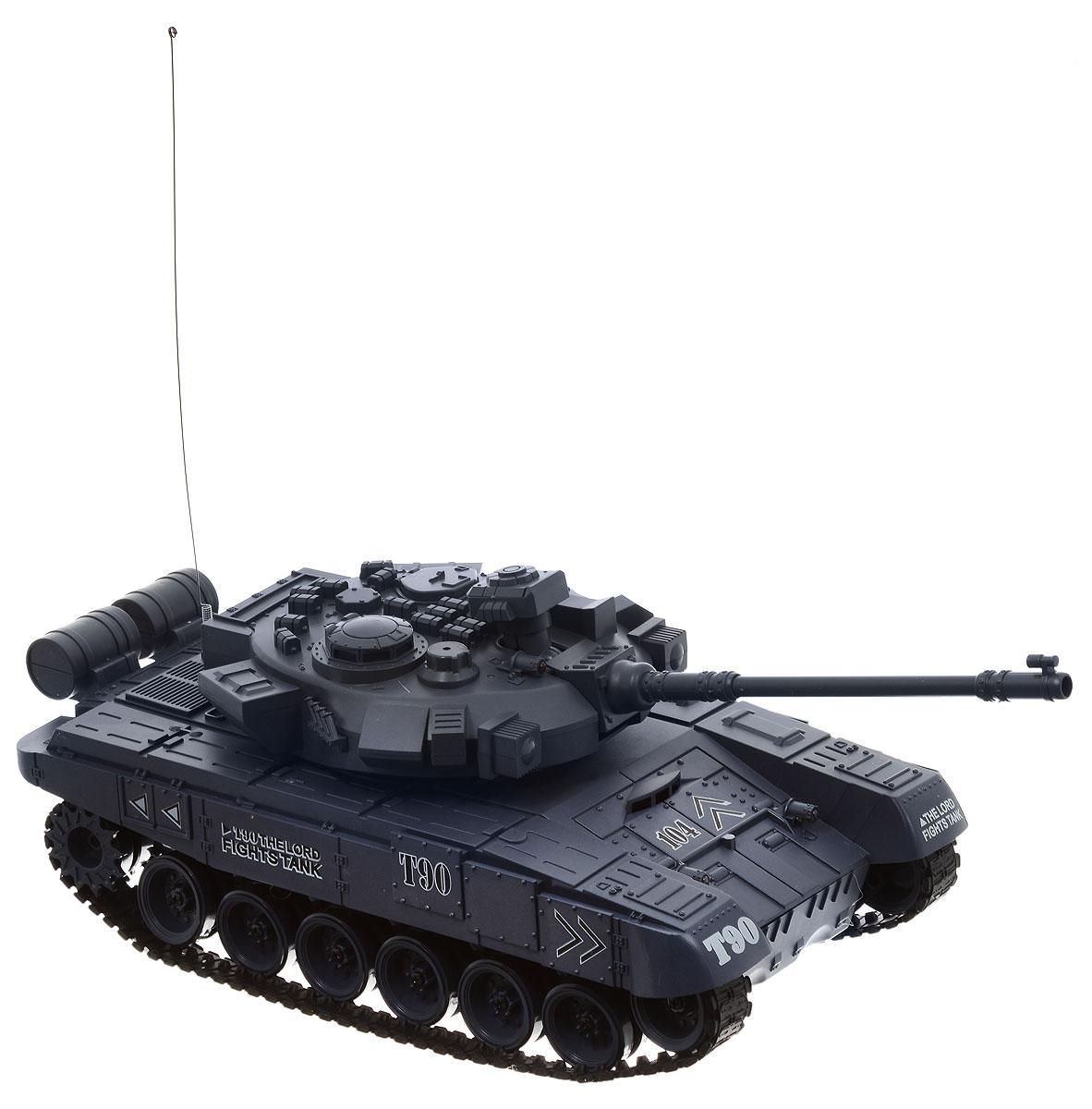 Pilotage Танк на радиоуправлении Russia T90RC18392Модель российского танка T90 в масштабе 1/18 с пневматической пушкой выполнена с высочайшей степенью детализации. В этой модели скрупулезно сымитированы все детали, начиная от структуры литья брони и заканчивая отличительными знаками. Модель способна повторять все движения прототипа, вплоть до поворота башни на 320 градусов и изменения угла установки ствола главного орудия. Копия этого танка стреляет пластиковыми шариками типа ВВ (6 мм), выталкиваемыми сжатым воздухом на 12 метров с силой выстрела 0,02 Дж. При желании вы можете отключить функцию стрельбы шариками при помощи выключателя, который расположен под крышкой люка, и тогда во время выстрела будут работать только световые и звуковые эффекты. Танк имеет три скорости движения вперед: 8, 10 и 12 км/ч, а также функцию заднего хода. Имитация торсионной подвески поддерживающих катков позволяет модели преодолевать неровности ландшафта и взбираться на подъемы крутизной до 45 градусов. Эта модель создана для настоящих ценителей...