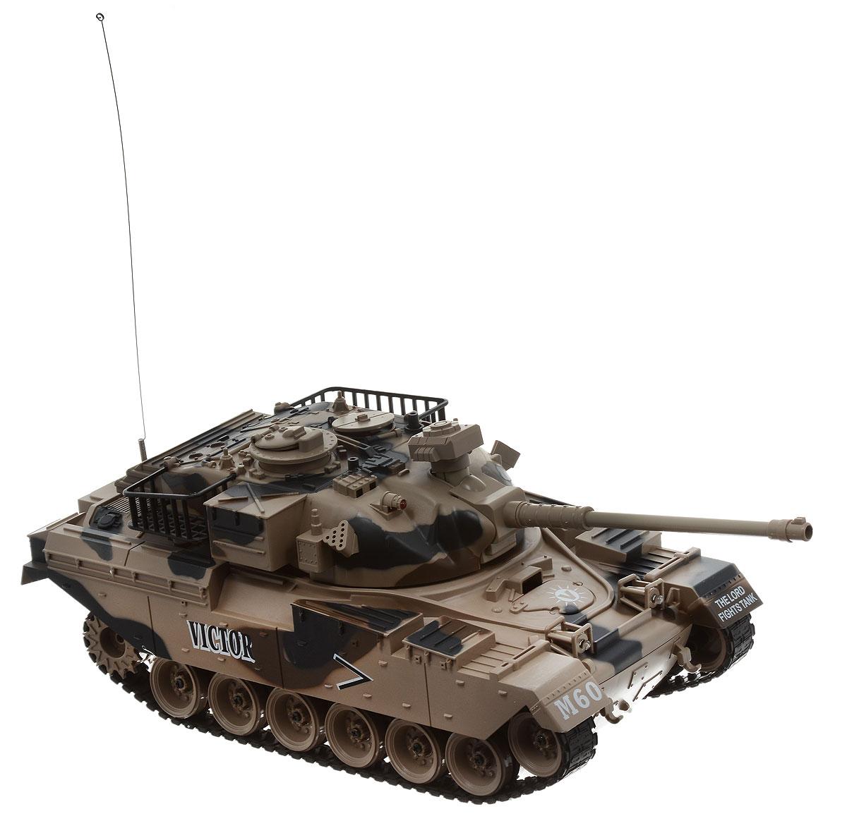 Pilotage Танк на радиоуправлении US M60 цвет камуфляжRC18394Модель американского танка M60 в масштабе 1/18 с пневматической пушкой выполнена с высочайшей степенью детализации. В этой модели сымитированы все детали, начиная от структуры литья брони и заканчивая отличительными знаками. Модель способна повторять все движения прототипа, вплоть до поворота башни на 320 градусов и изменения угла установки ствола главного орудия. Копия этого танка стреляет пластиковыми шариками типа ВВ (6 мм), выталкиваемыми сжатым воздухом на 12 метров с силой выстрела 0,02 Дж. При желании вы можете отключить функцию стрельбы шариками при помощи выключателя, который расположен под крышкой люка, и тогда во время выстрела будут работать только световые и звуковые эффекты. Танк имеет три скорости движения вперед: 8, 10 и 12 км/ч, а также функцию заднего хода. Имитация торсионной подвески поддерживающих катков позволяет модели преодолевать неровности ландшафта и взбираться на подъемы крутизной до 45 градусов. Эта модель создана для настоящих ценителей...