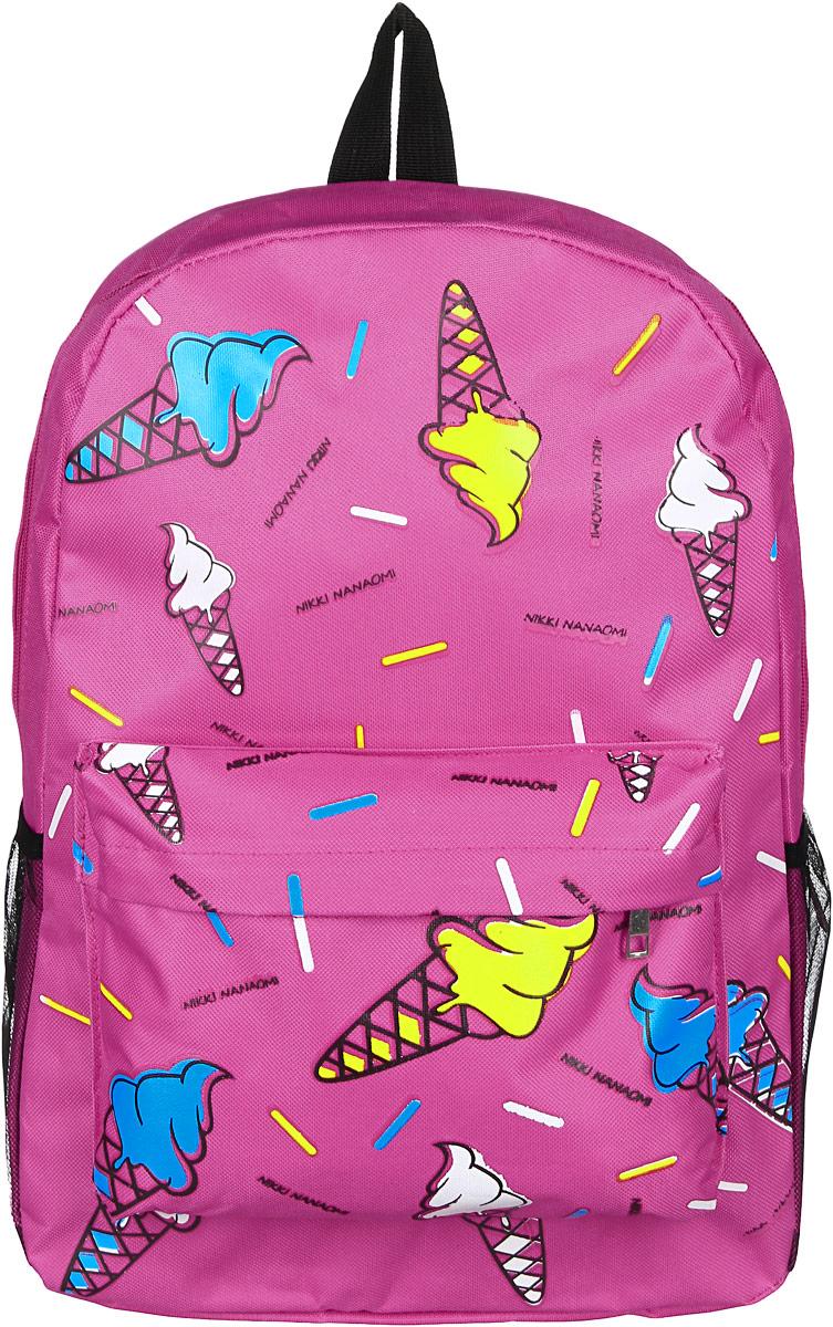 Рюкзак женский Kawaii Factory,, цвет: розовый. KW102-000233KW102-000233Рюкзак женский Kawaii Factory - идеальное сочетание креативного дизайнерского подхода и простоты исполнения. Модный рюкзак с мороженым удобный и функциональный, сшит из прочного материала. В нем есть все, что нужно - одно основное отделение, закрывающееся на застежку-молнию, один внутренний накладной карман, а также карман на молнии. По бокам рюкзака имеются небольшие кармашки для различных мелочей. Благодаря отличной эргономичности прогулочный рюкзак будет практически невесомым на вашей спине. Спереди и сзади модель дополнена накладным карманом на застежке- молнии. Рюкзак оснащен широкими лямками регулируемой длины и ручкой для переноски в руке. Практичный и стильный аксессуар позволит вам завершить свой образ.