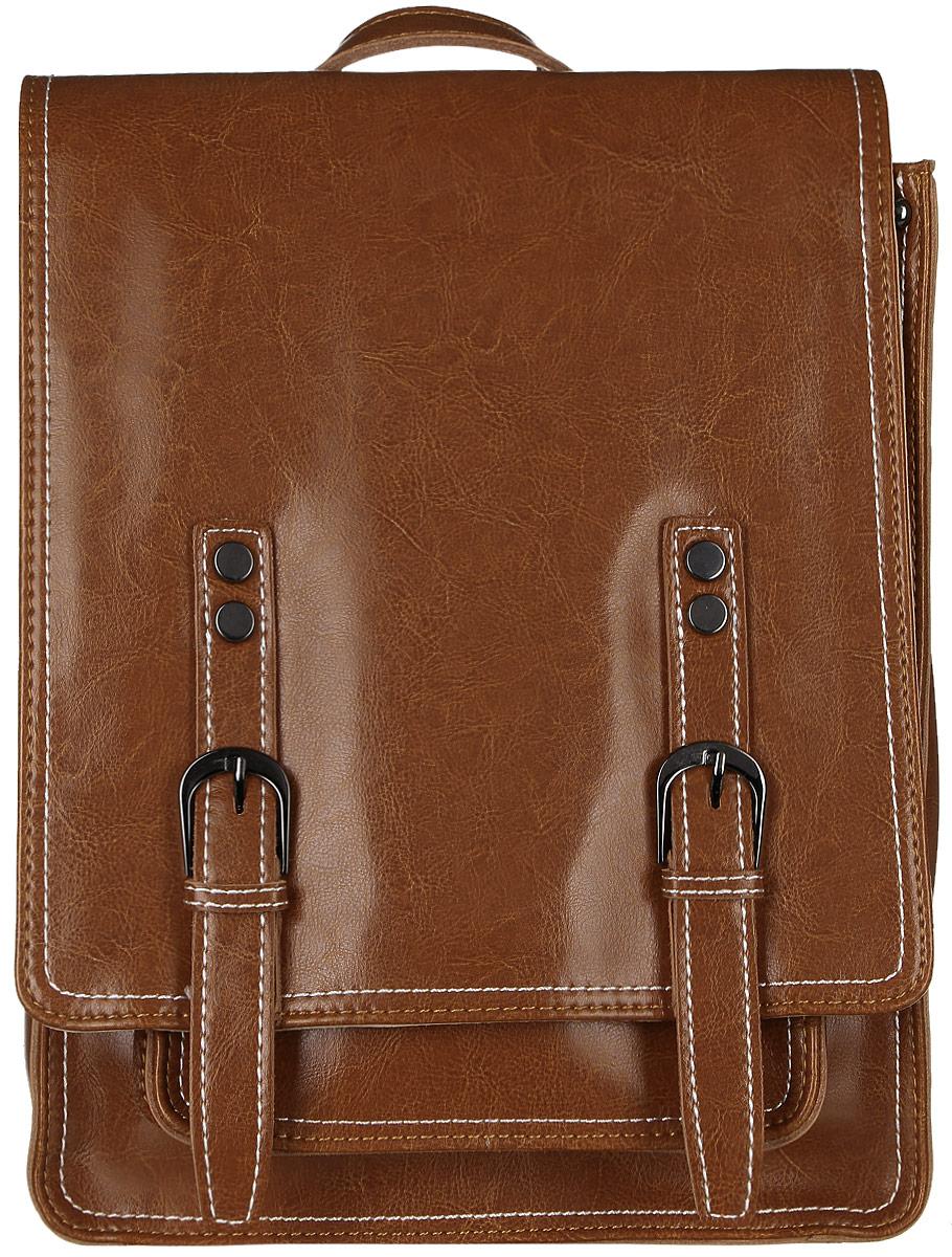 Рюкзак женский Janes Story, цвет: коричневый. HE8167-06HE8167-06Стильный женский рюкзак Janes Story выполнен из натуральной кожи и оформлен металлической фурнитурой. Изделие содержит одно отделение, закрывающееся с помощью металлической застежки-молнии и клапана с магнитным замком. Внутри расположены: два накладных кармана для мелочей и два кармана на молнии. Сзади модель дополнена прорезным карманом на молнии, спереди под клапаном накладным открытым карманом. Рюкзак оснащен удобными лямками регулируемой длины, а также петлей для подвешивания. Оригинальный аксессуар позволит вам завершить образ и быть неотразимой.